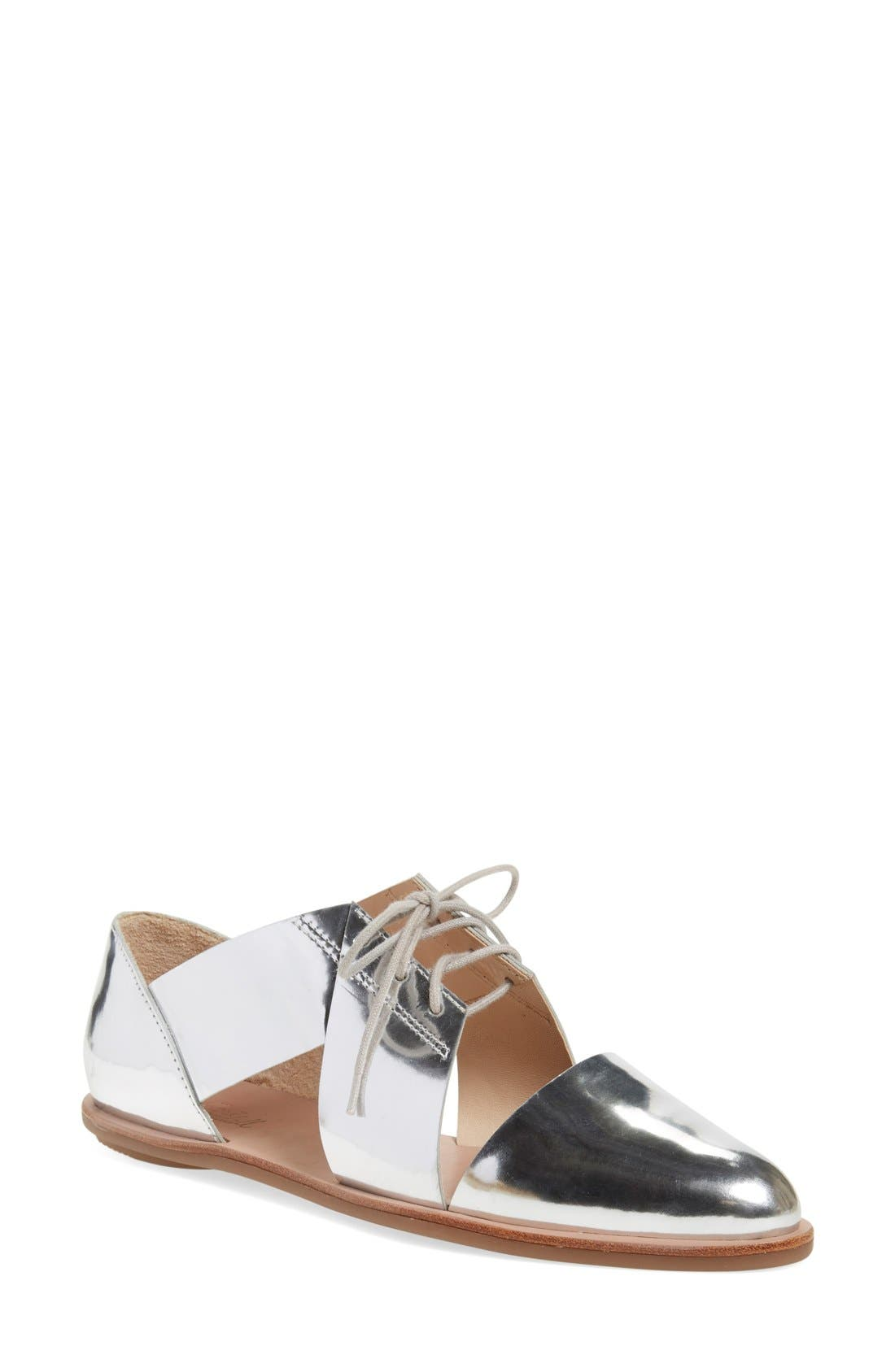 'Willa' Flat,                             Main thumbnail 1, color,                             Silver Mirror Leather