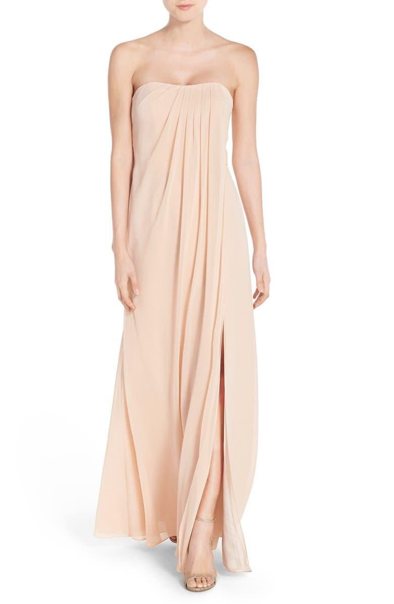 Raquel Front Slit Strapless Chiffon Gown
