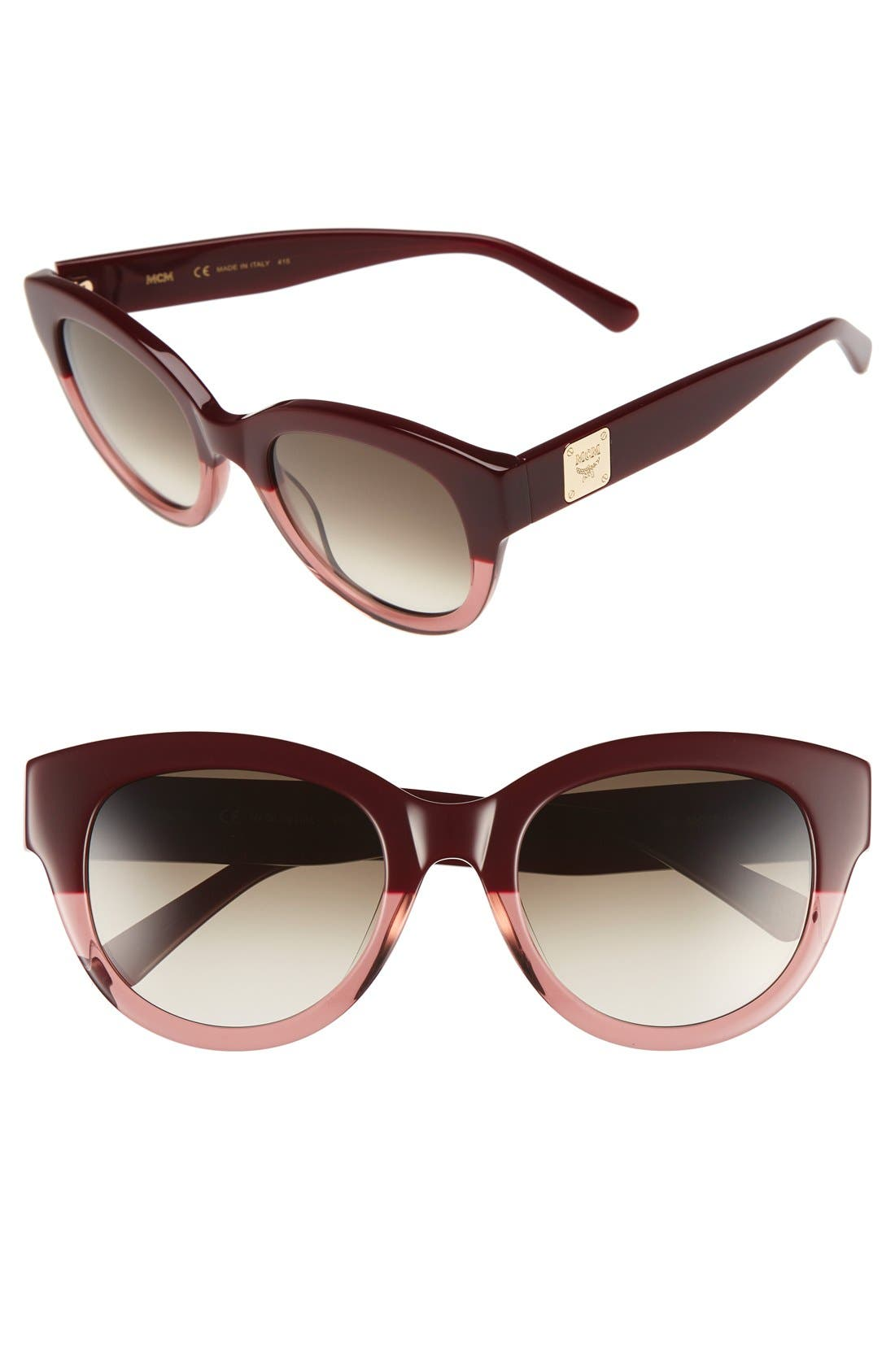 53mm Cat Eye Sunglasses,                         Main,                         color, Bordeaux/ Antique Rose