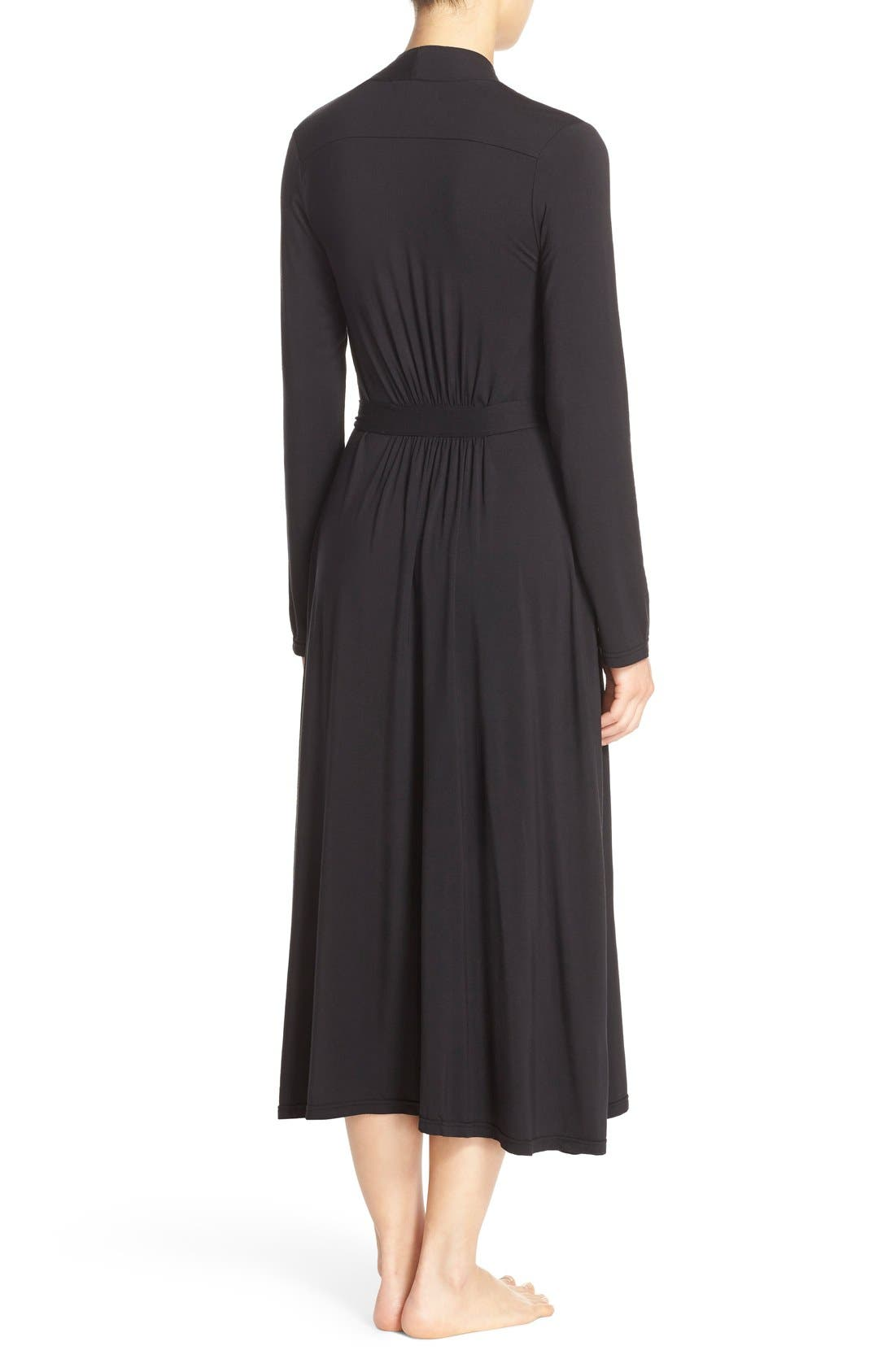 Luxe Long Jersey Robe,                             Alternate thumbnail 2, color,                             Black
