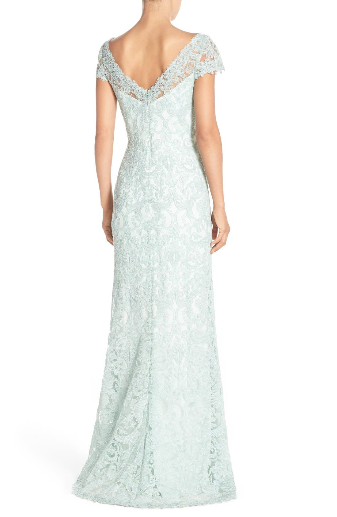 Alternate Image 3  - Tadashi Shoji Illusion Yoke Gown (Regular & Petite)