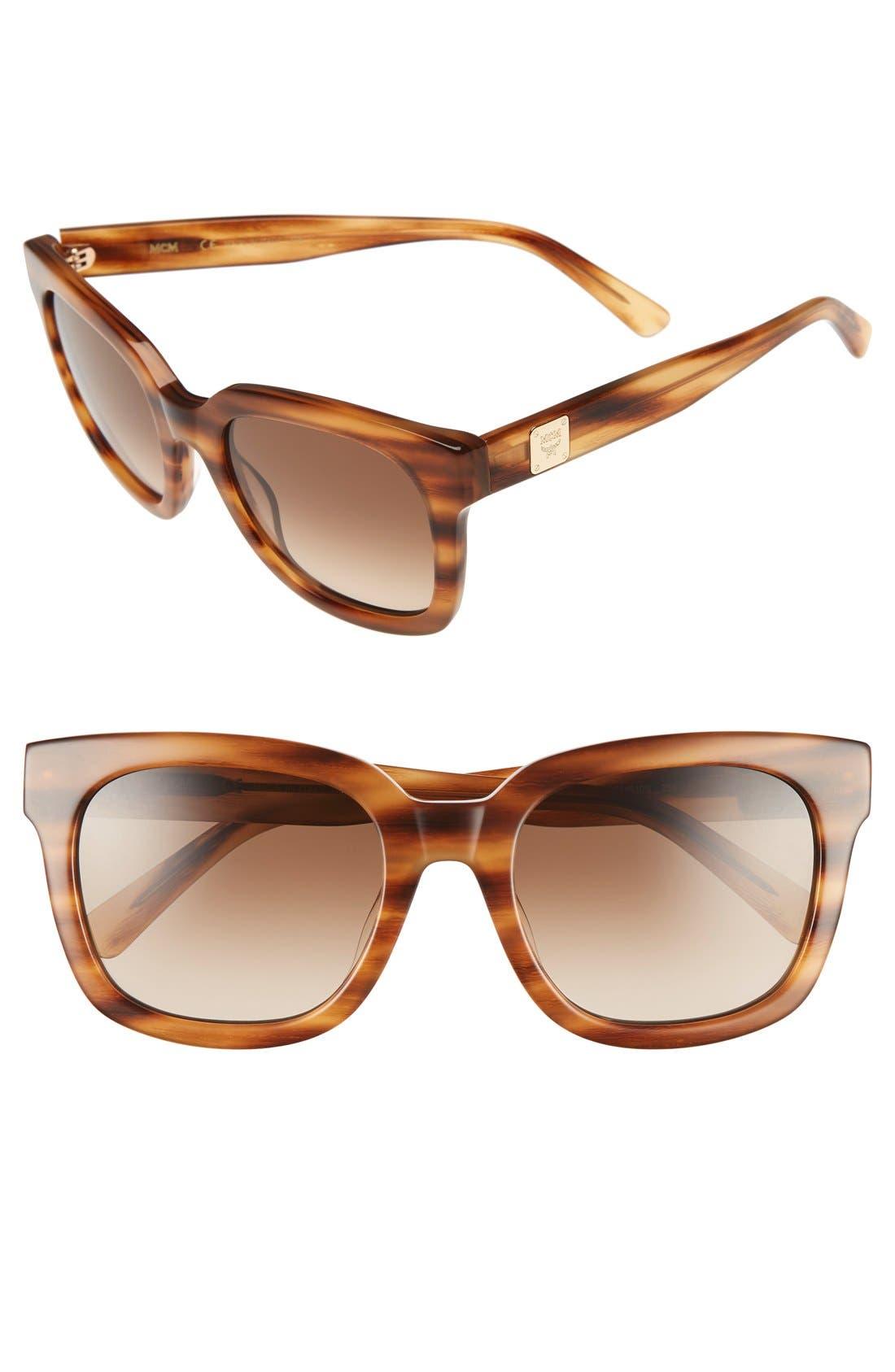 54mm Retro Sunglasses,                         Main,                         color, Striped Cognac