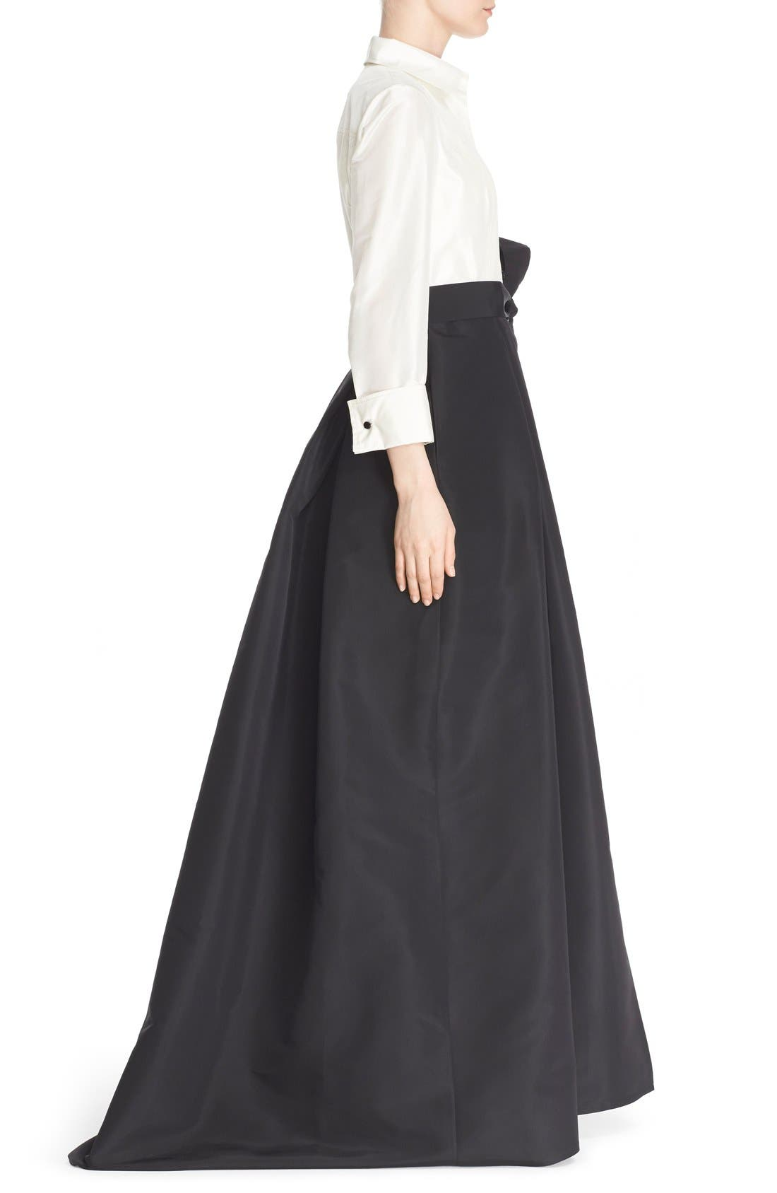 Silk Taffeta Trench Gown,                             Alternate thumbnail 4, color,                             Black/ Ivory
