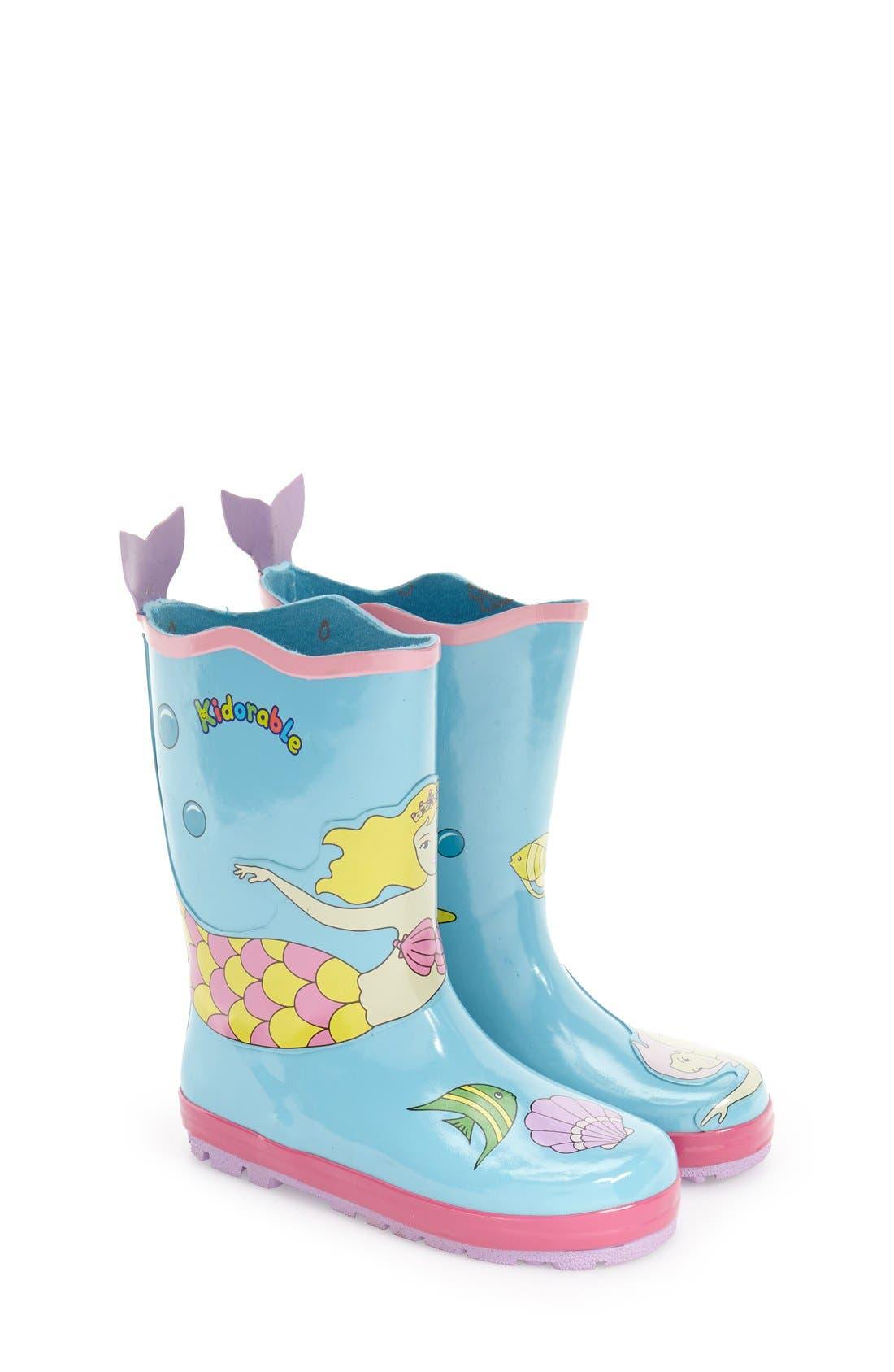 'Mermaid' Waterproof Rain Boot,                         Main,                         color, Blue
