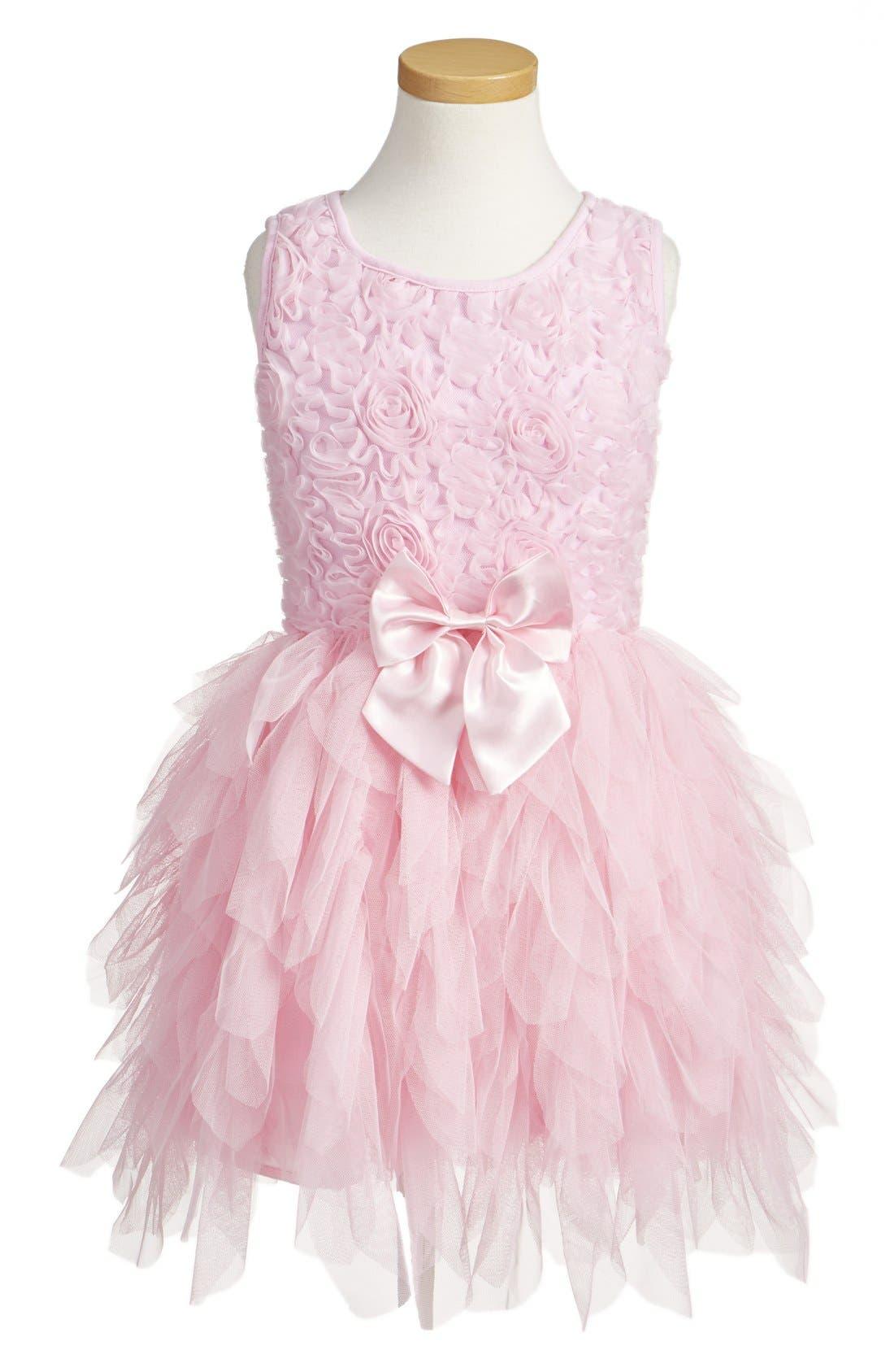 Ribbon Rosette Sleeveless Tulle Dress,                             Main thumbnail 1, color,                             Pink