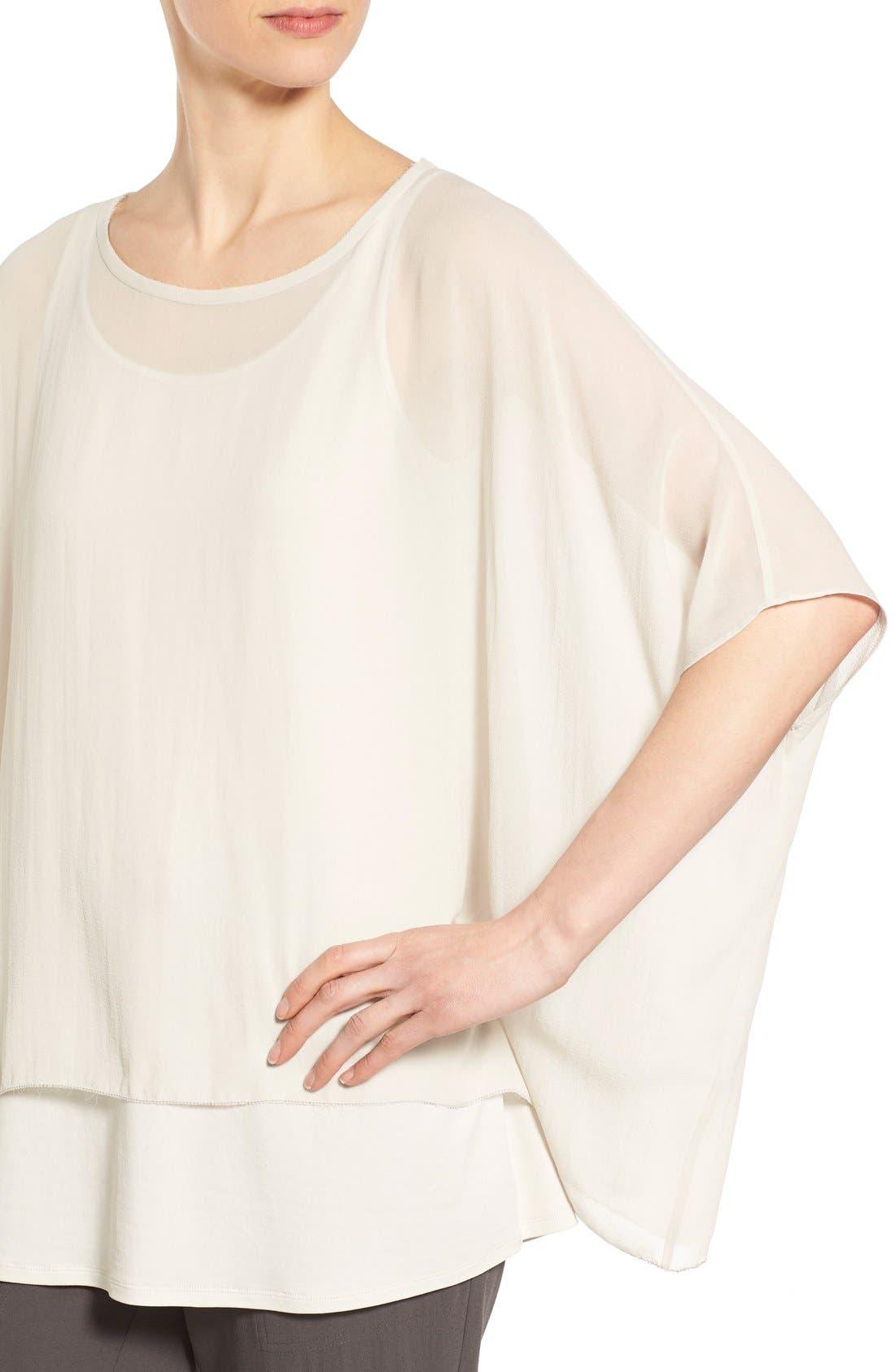 Alternate Image 4  - Eileen Fisher Sheer Silk Georgette Top (Regular & Petite)