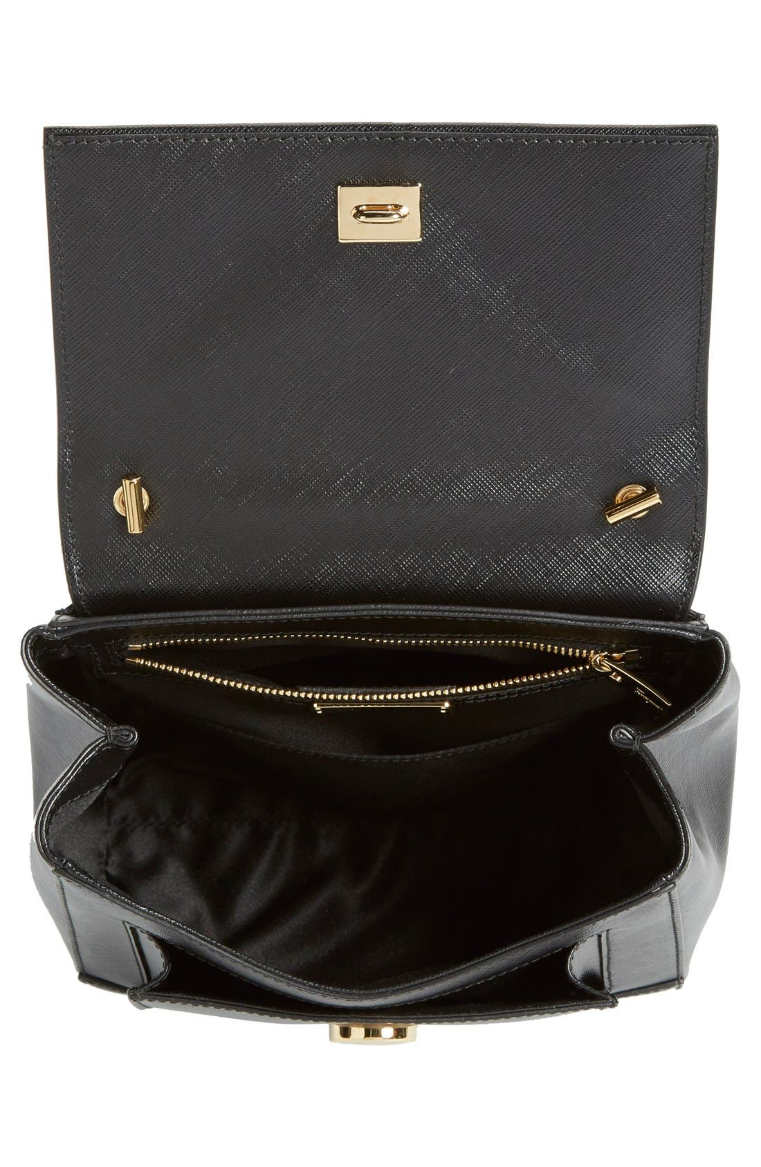 Small Saffiano Leather Bow Top Handle Satchel,                             Alternate thumbnail 4, color,                             Nero
