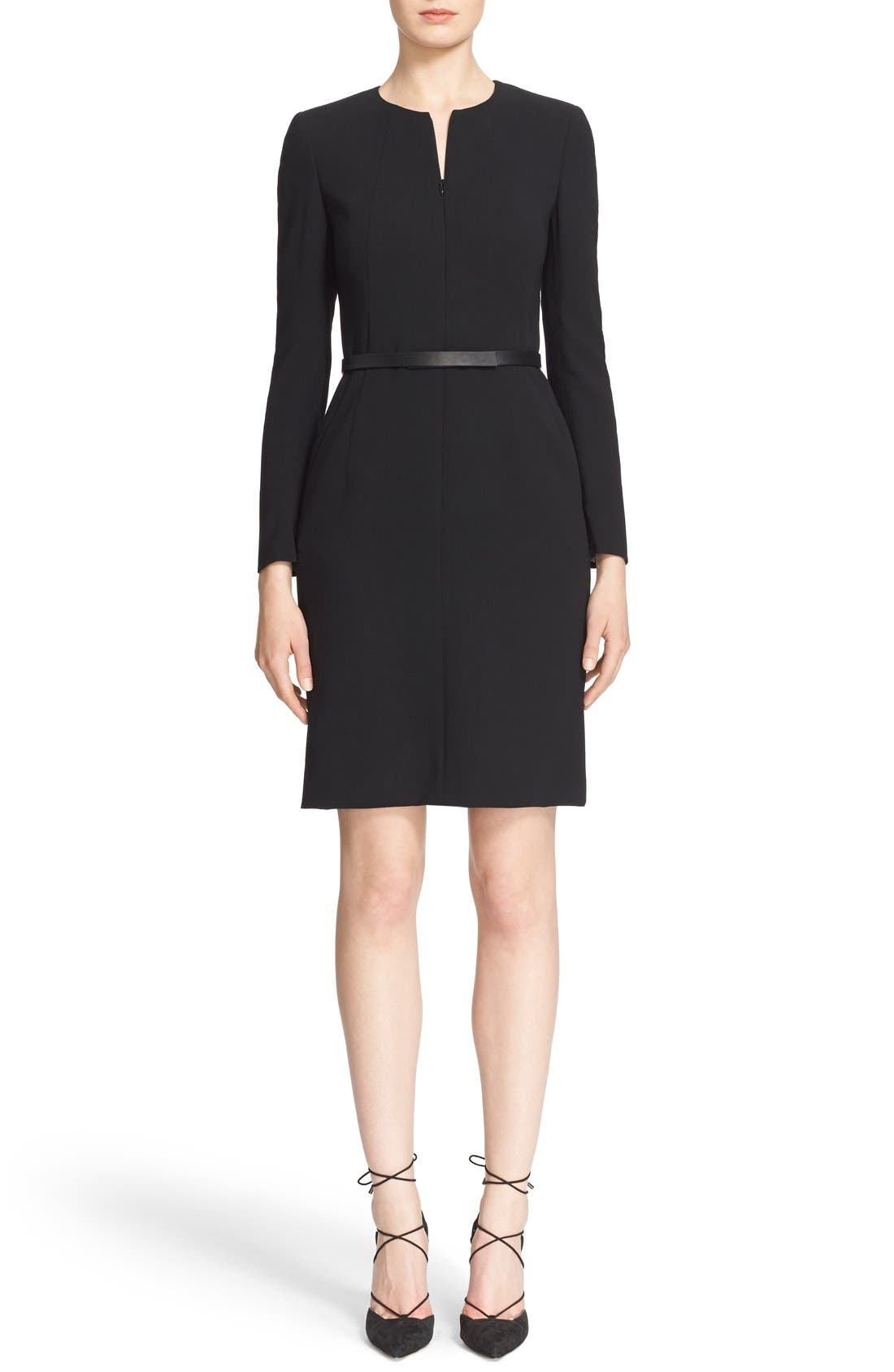Main Image - Akris Belted Zip Front Wool Blend Dress