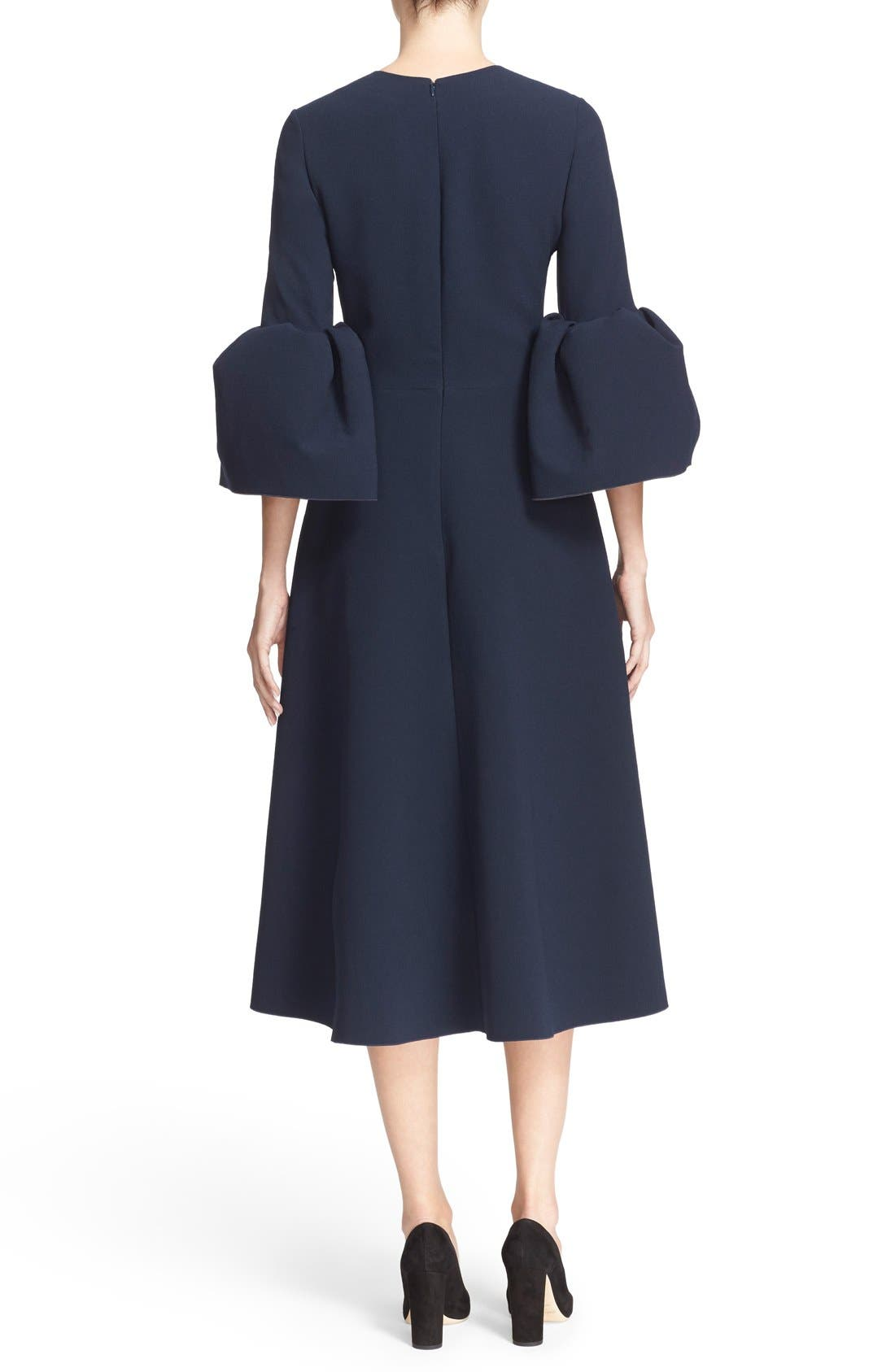 Turlin Flounce Sleeve Midi Dress,                             Alternate thumbnail 2, color,                             Navy/ Ochre
