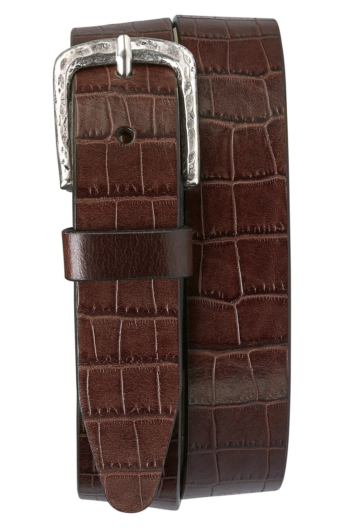 Main Image - Trask 'Rex' Croc Embossed American Steer Leather Belt
