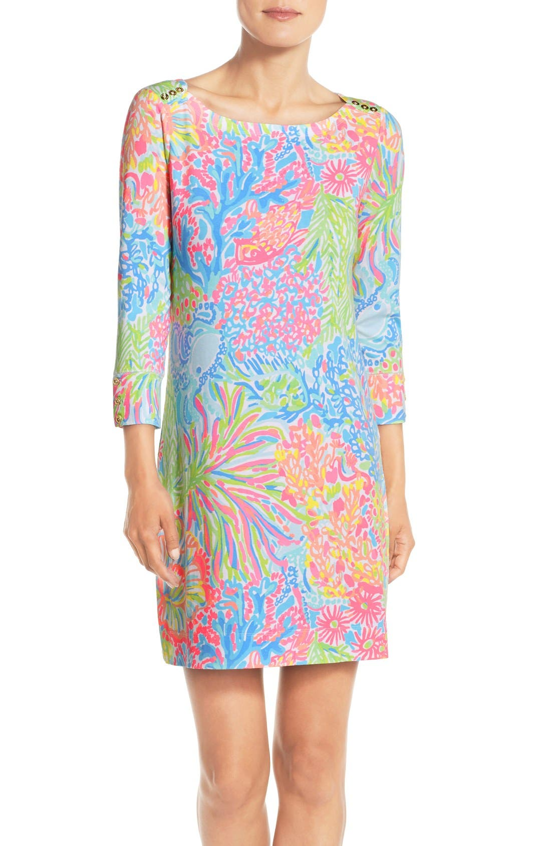Main Image - Lilly Pulitzer® 'Sophie' Print Jersey Shift Dress (UPF 50)