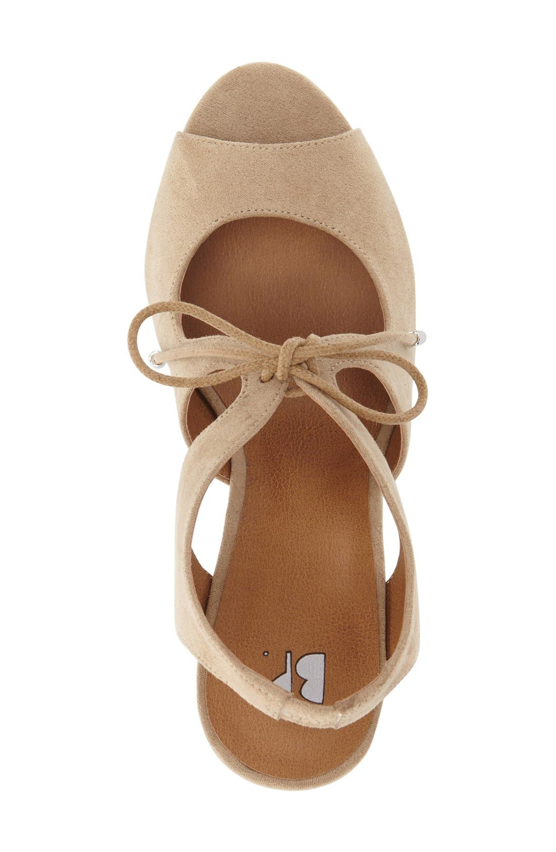 'Solar' Platform Wedge Sandal,                             Alternate thumbnail 3, color,                             Light Taupe Faux Suede