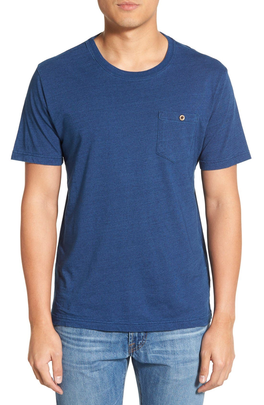 Pocket Crewneck T-Shirt,                             Main thumbnail 1, color,                             Dark Indigo