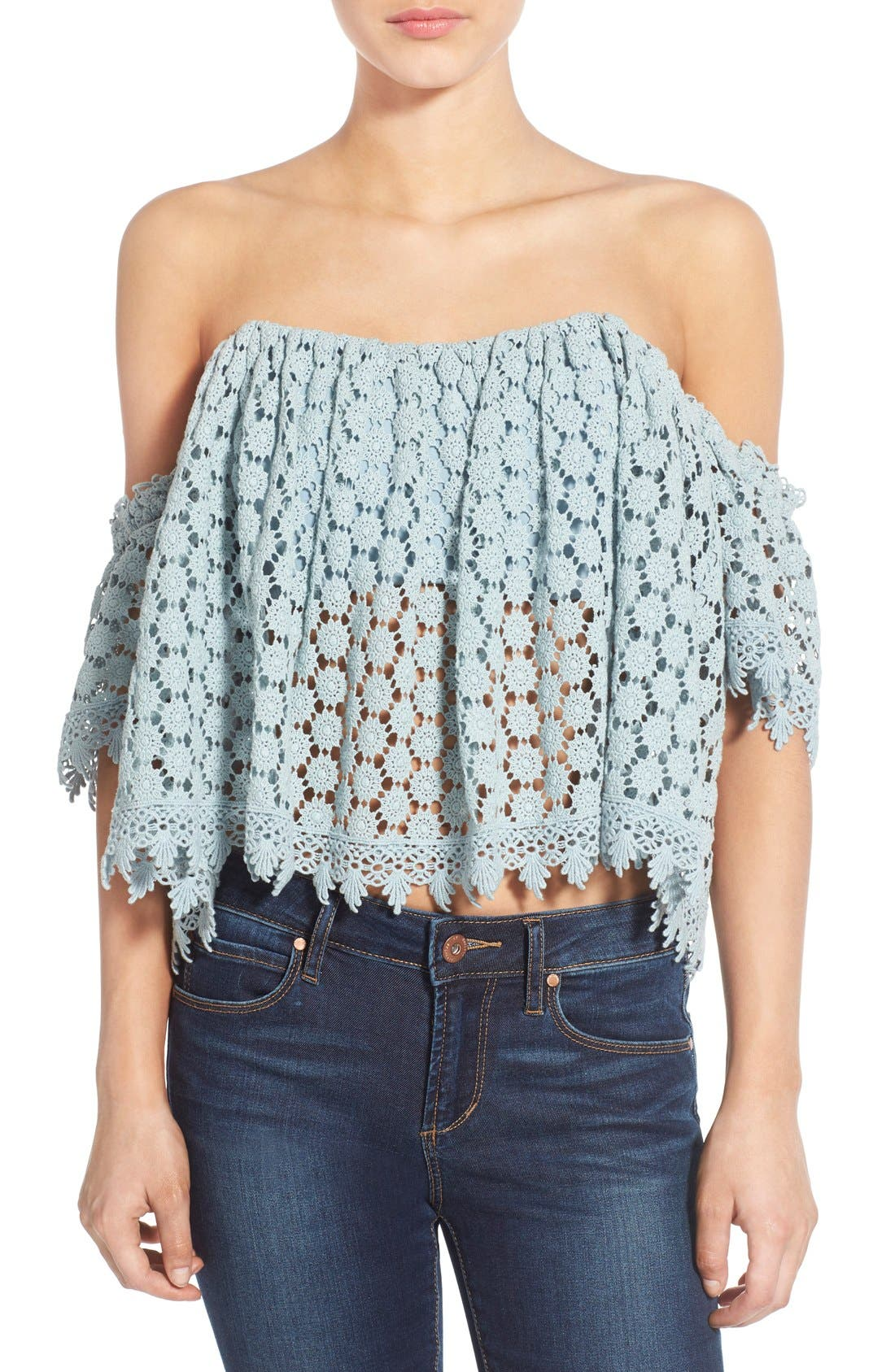 'Amelia' Off the Shoulder Crochet Crop Top,                             Main thumbnail 1, color,                             Mint
