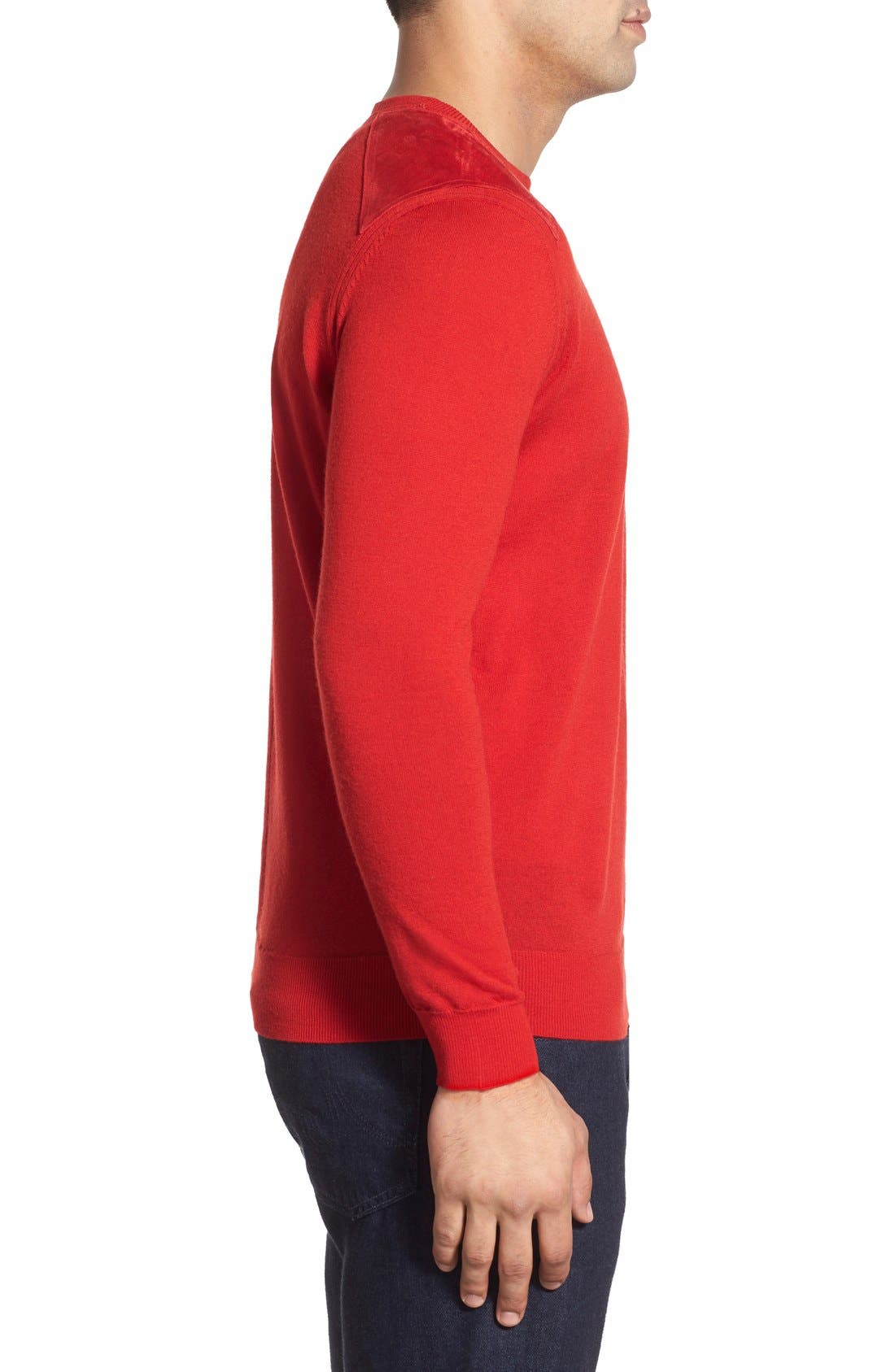 Regular Fit Crewneck Sweater,                             Alternate thumbnail 4, color,                             Cherry