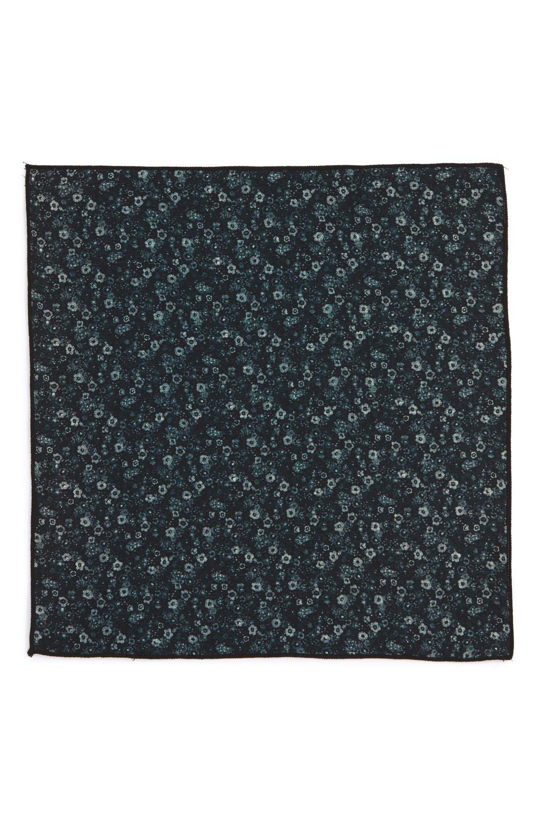 Floral Wool Pocket Square,                             Alternate thumbnail 2, color,                             Black
