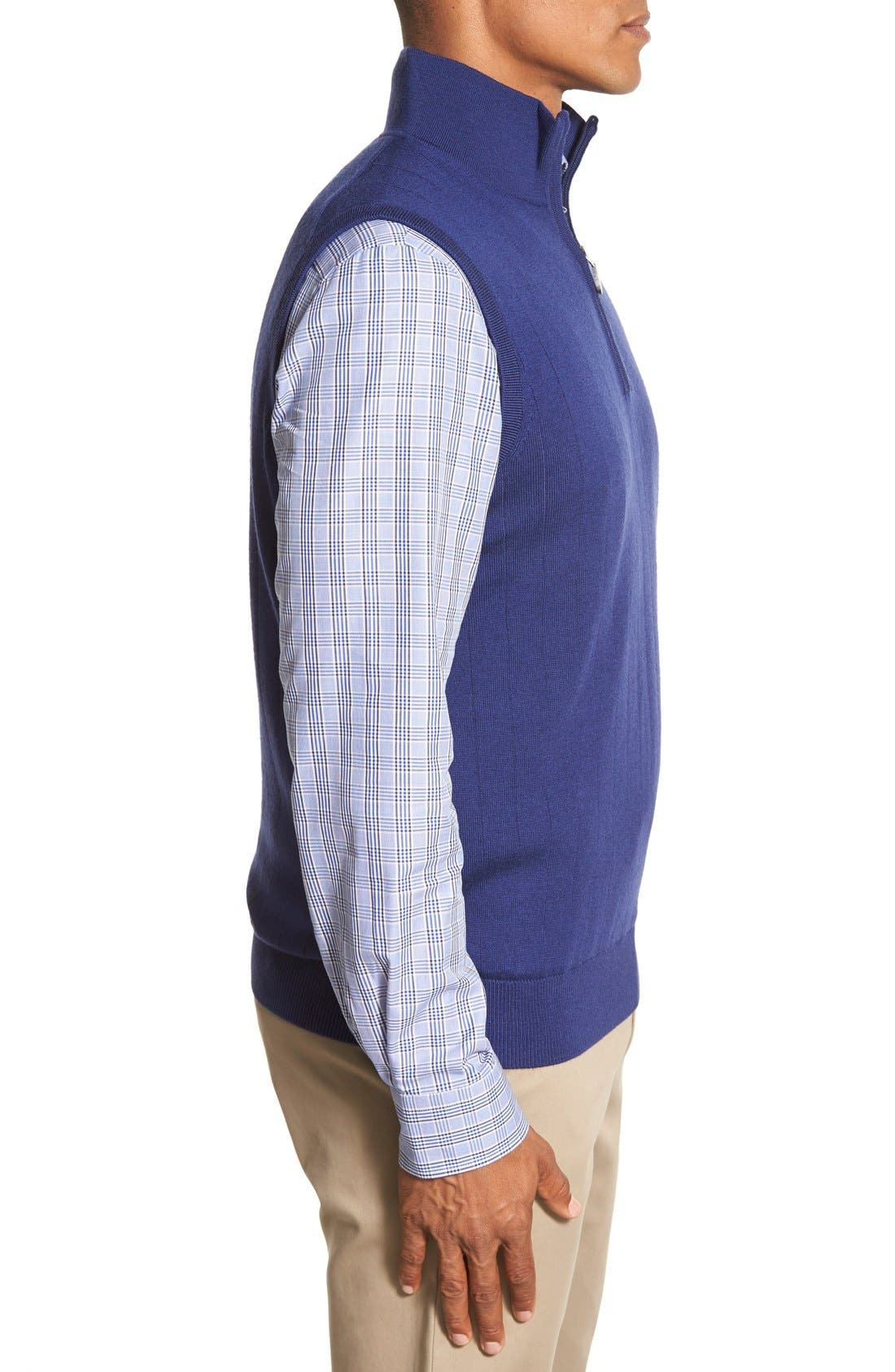 Quarter Zip Wool Sweater Vest,                             Alternate thumbnail 3, color,                             Summer Navy