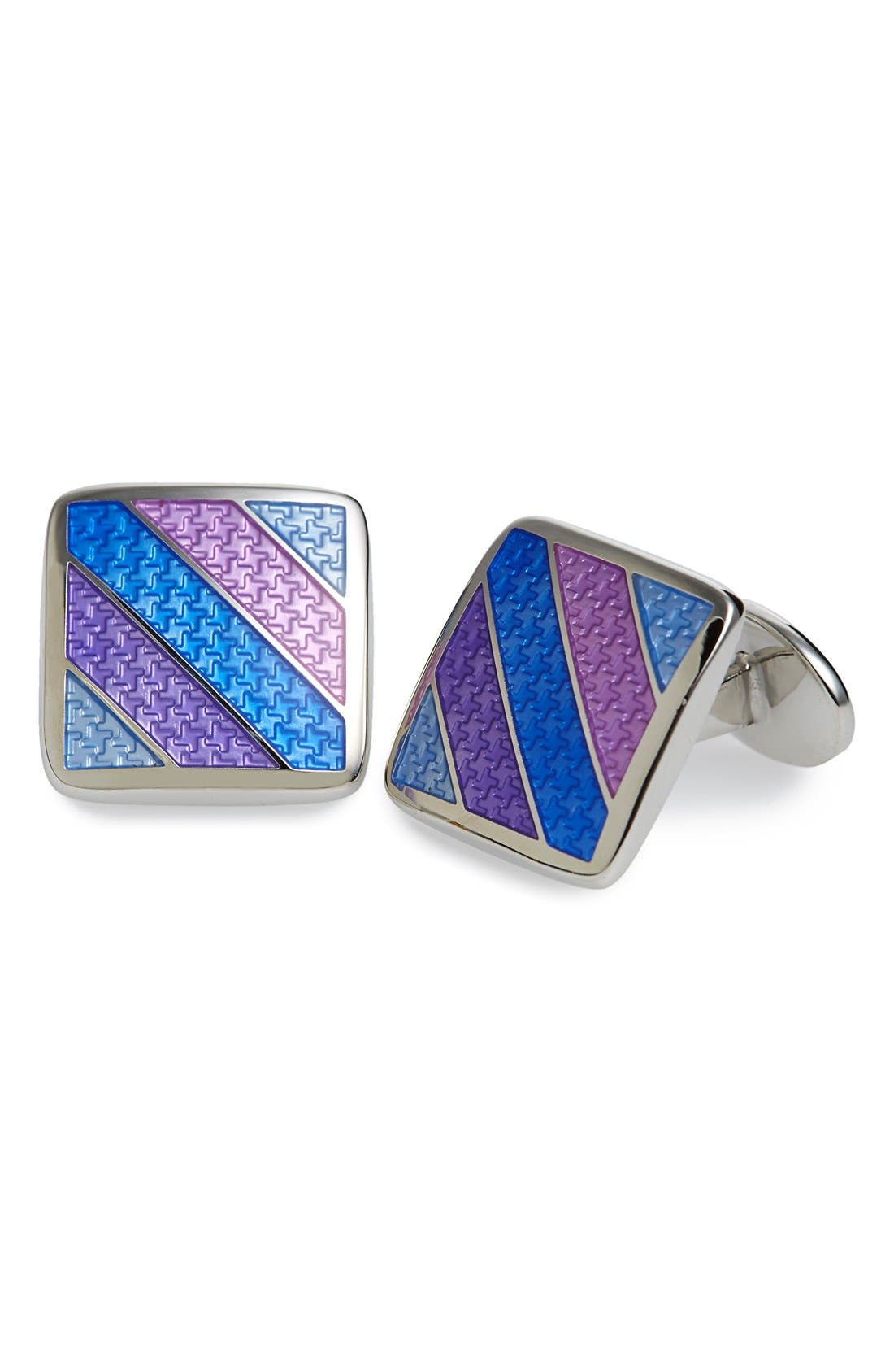 Enamel Cuff Links,                             Main thumbnail 1, color,                             Purple/ Silver