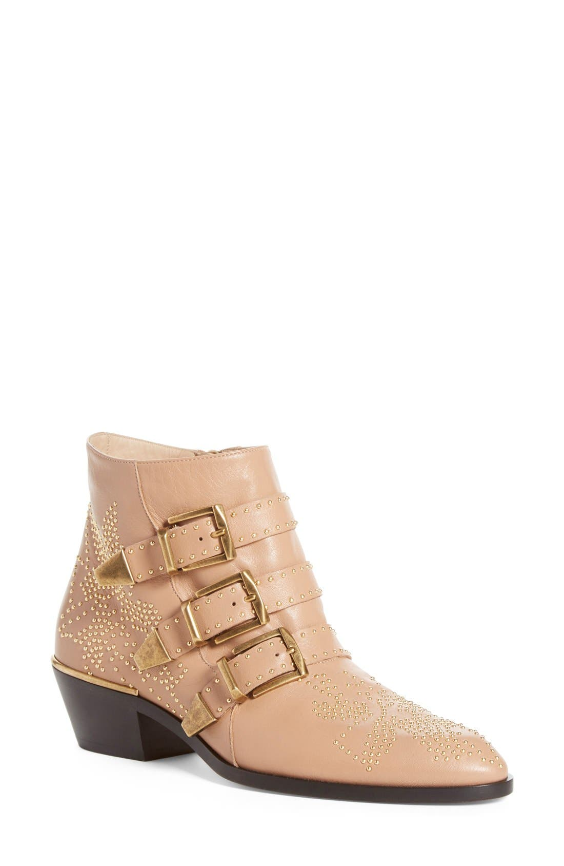 Susanna Stud Buckle Bootie,                             Main thumbnail 1, color,                             Beige Gold Leather