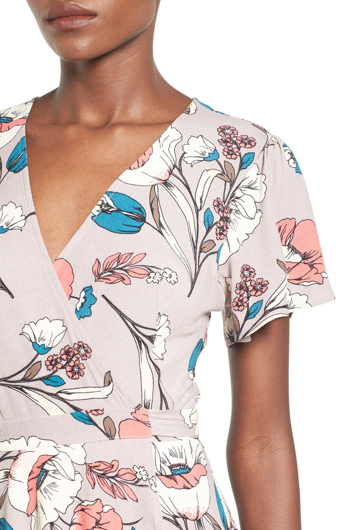 Alternate Image 4  - ASTR Floral Print Wrap Dress