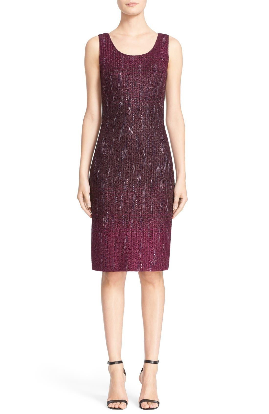 Main Image - St. John Collection 'Kira' Crystal Embellished Ombré Knit Sheath Dress