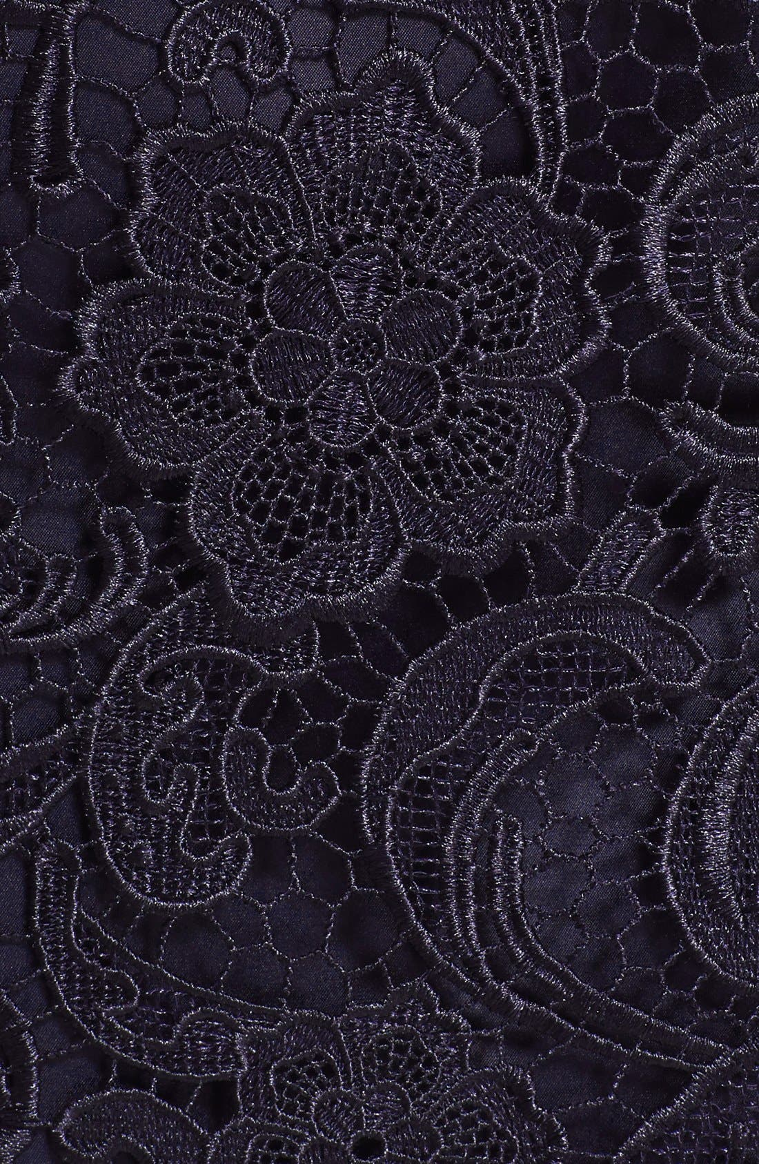 Illusion Bodice Lace Sheath Dress,                             Alternate thumbnail 6, color,                             Navy