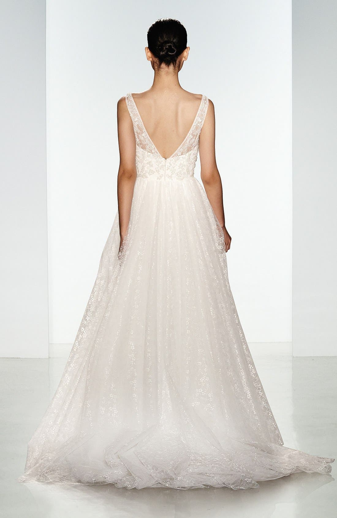 Alternate Image 2  - Christos Bridal Claire Beaded Chantilly Lace & Floral Tulle Ballgown