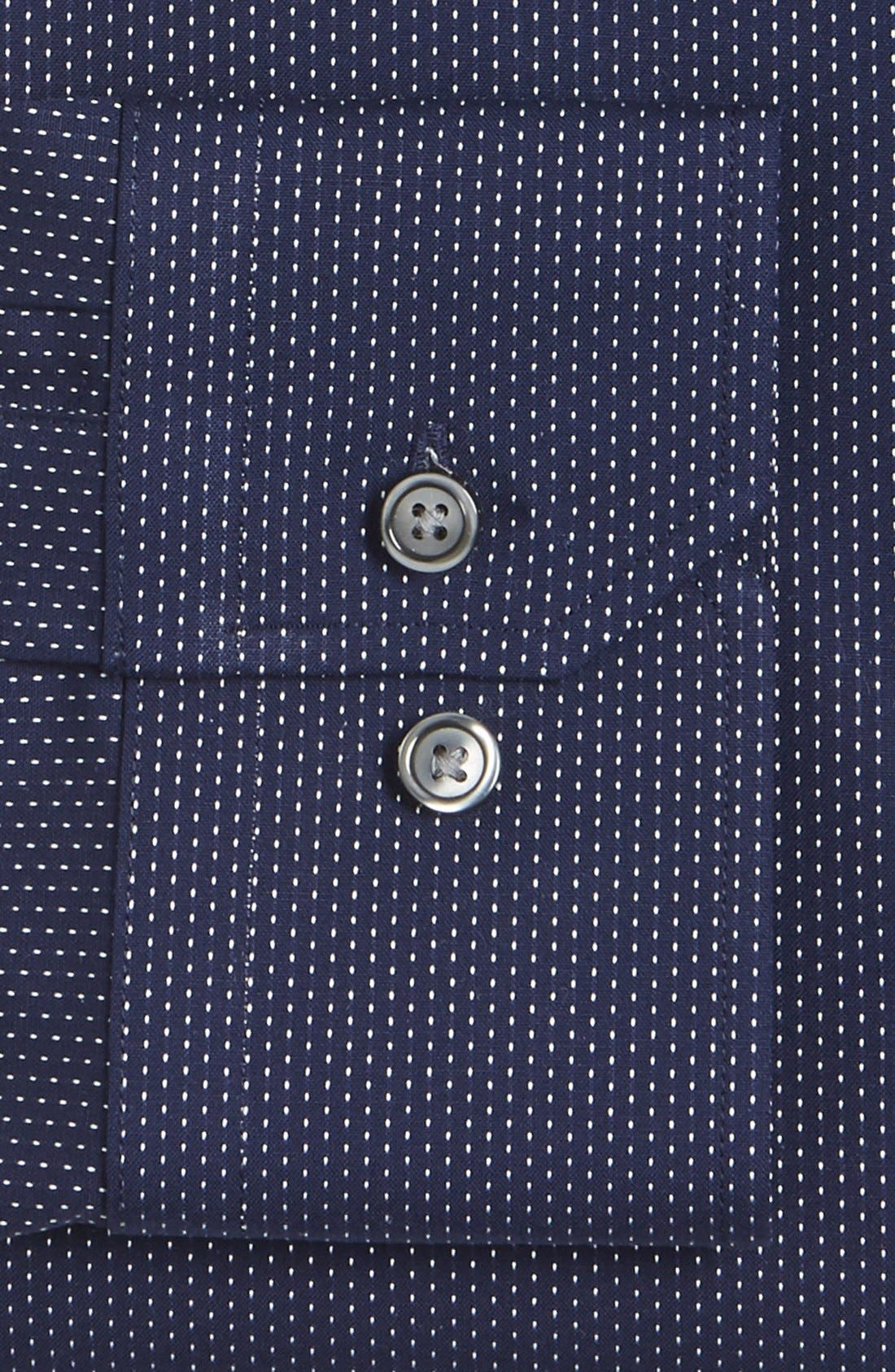 Trim Fit Non-Iron Microdot Dress Shirt,                             Alternate thumbnail 4, color,                             Navy Peacoat
