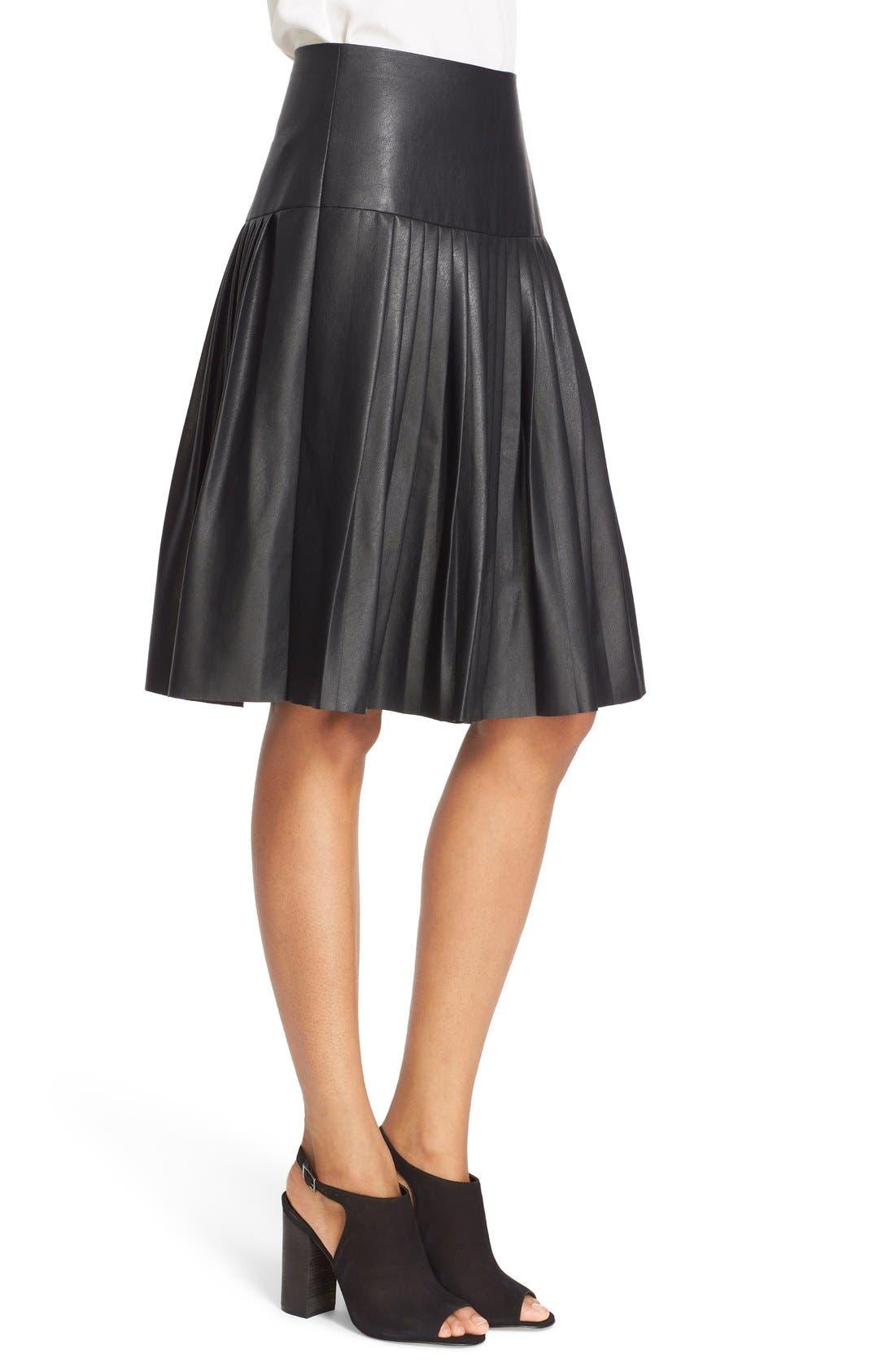 Faux Leather Pleated Drop Yoke Skirt,                             Alternate thumbnail 3, color,                             Black
