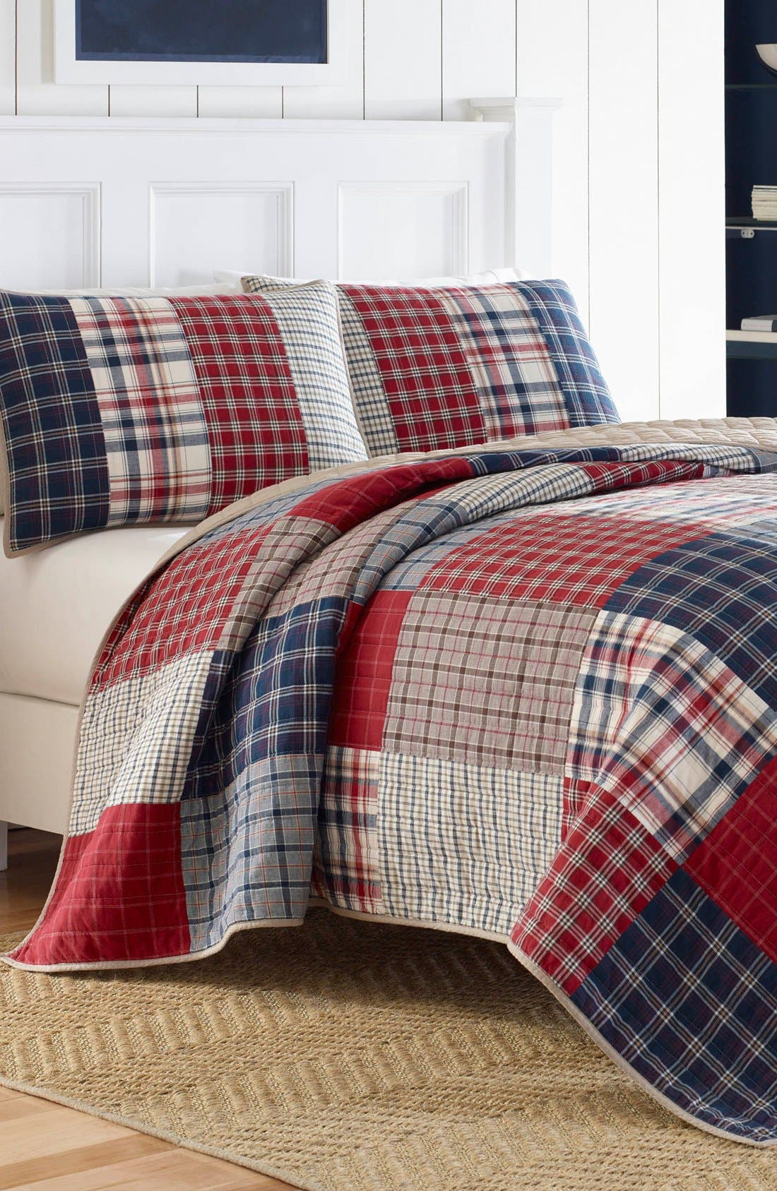 'Ansell' Pieced Quilt,                         Main,                         color, Dark Red