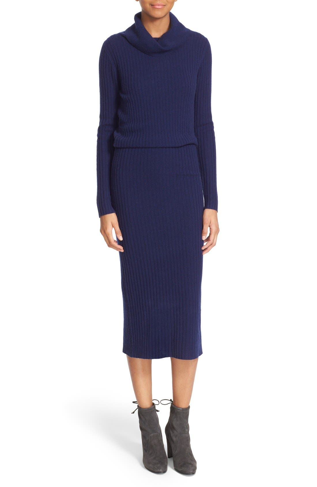 'Hailee' Cowl Neck Blouson Sweater Dress,                         Main,                         color, Navy