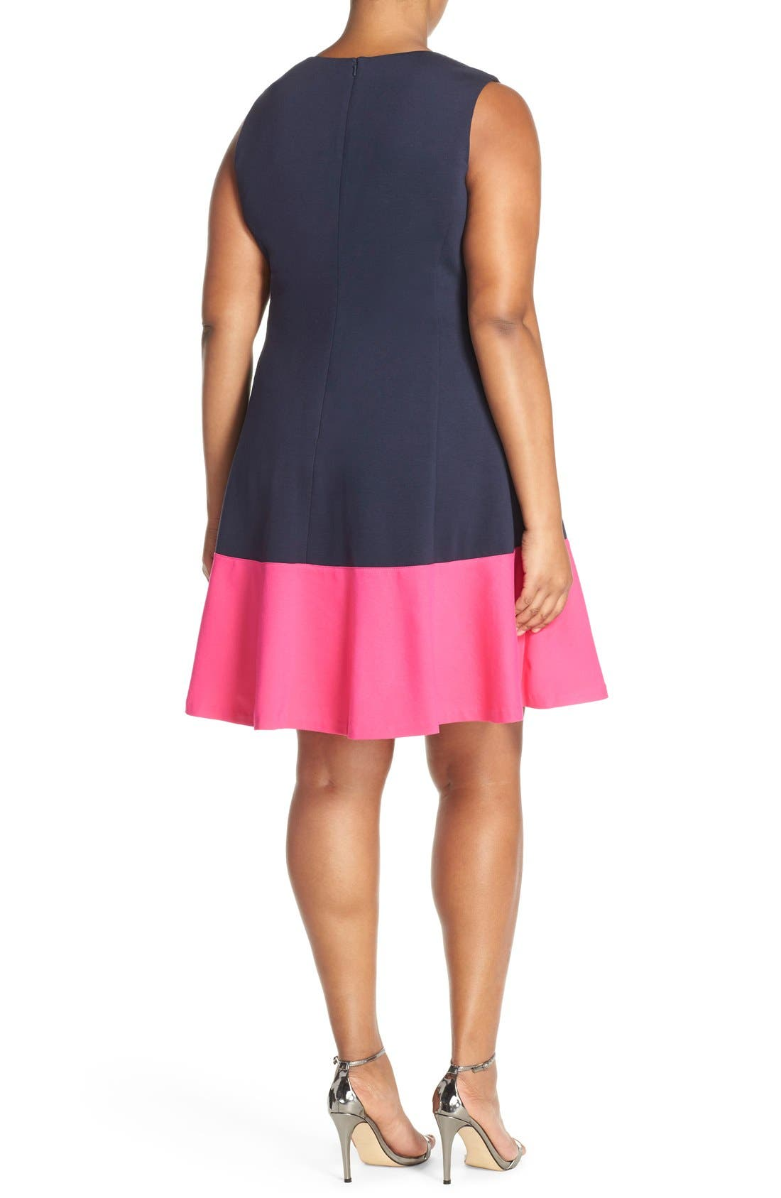 Colorblock Hem Fit & Flare,                             Alternate thumbnail 2, color,                             Navy/ Pink