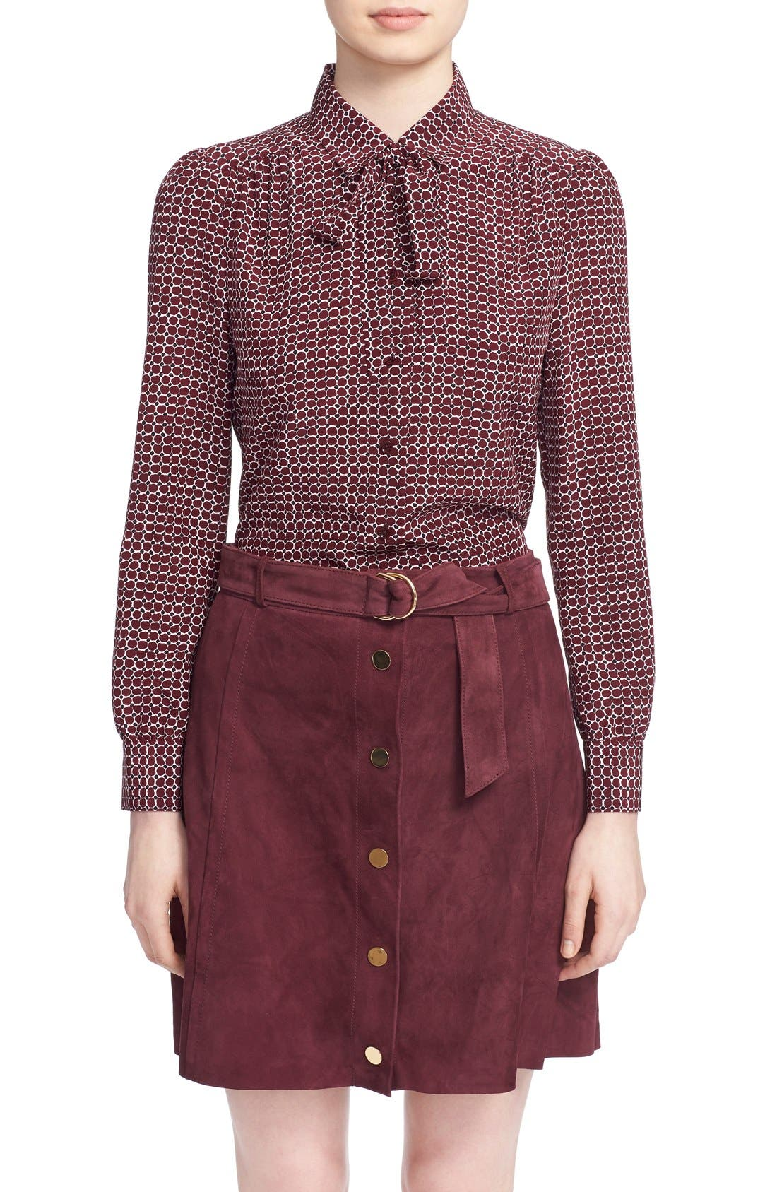 'parker dot' print silk bow blouse,                         Main,                         color, Midnight Wine