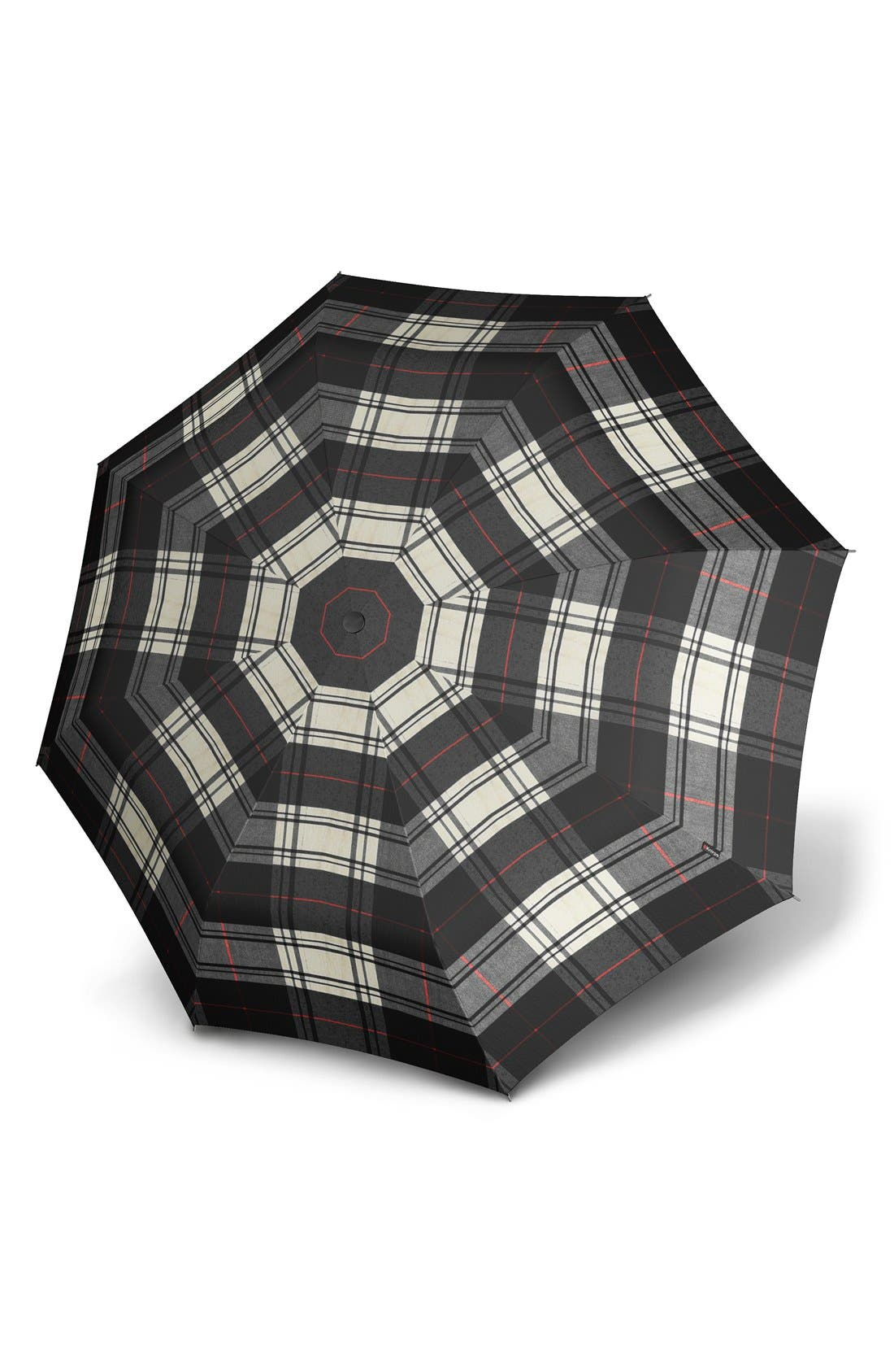 'Duomatic' Umbrella,                             Main thumbnail 1, color,                             Check Black/ White