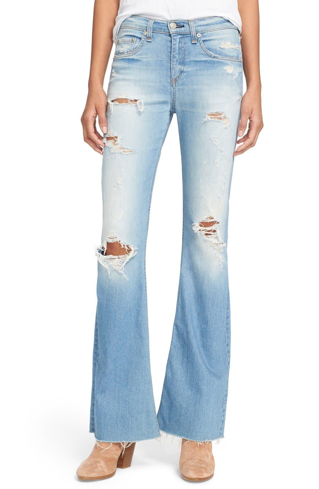 Alternate Image 1 Selected - rag & bone/JEAN 'Beach' High Rise Bell Bottom Jeans (Ryder)