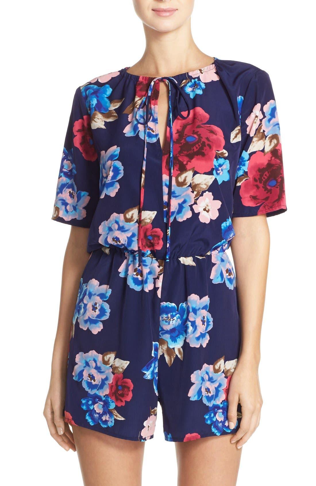 Short Sleeve Floral Print Romper,                         Main,                         color, Navy Floral