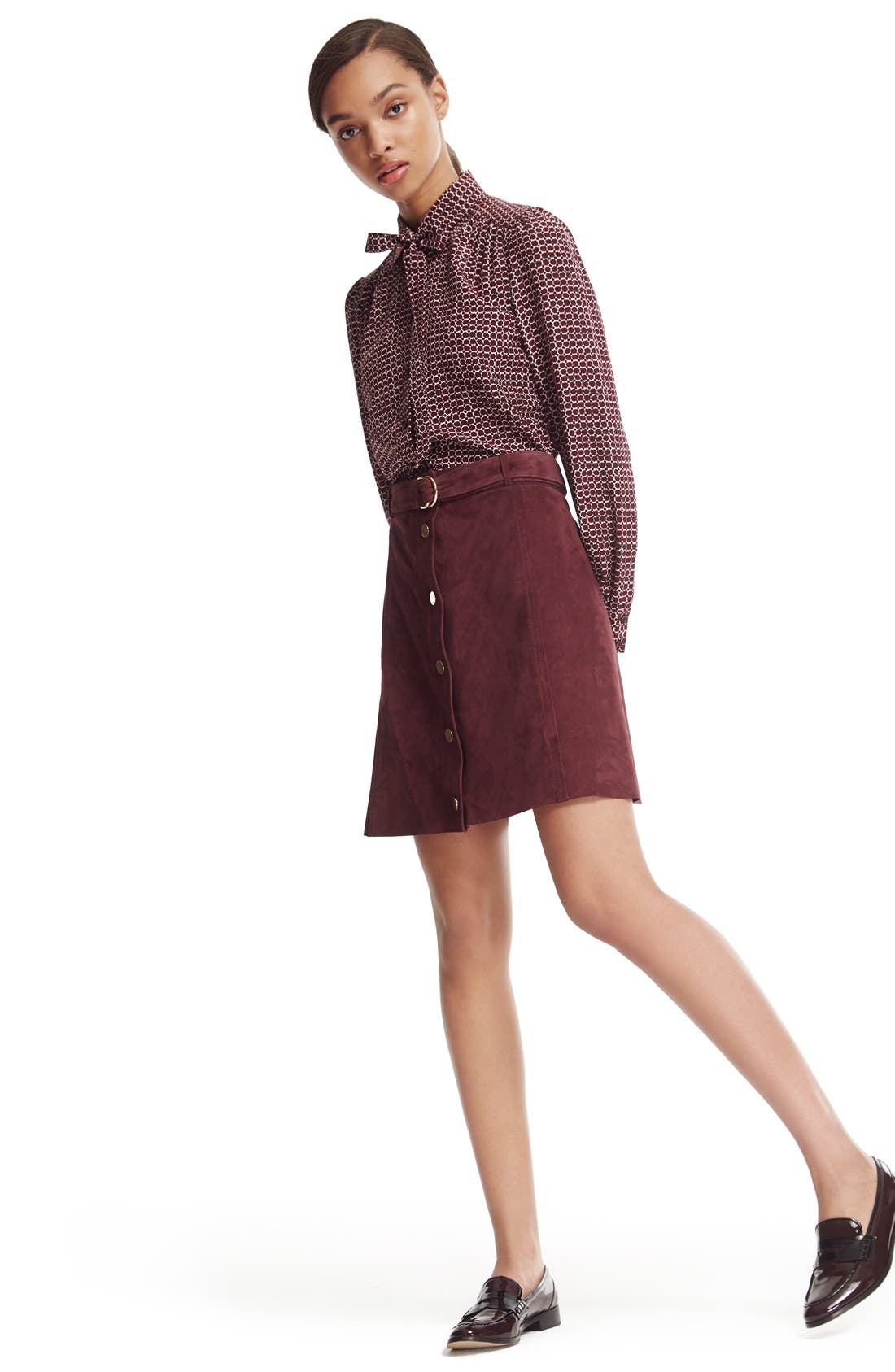 belted suede a-line skirt,                             Alternate thumbnail 6, color,                             Midnight Wine