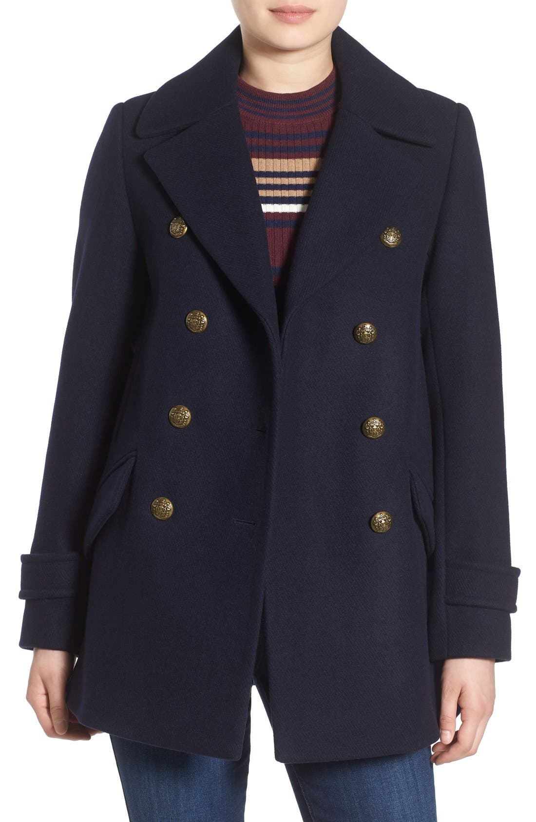 Wool Blend Peacoat,                         Main,                         color, Utility Blue
