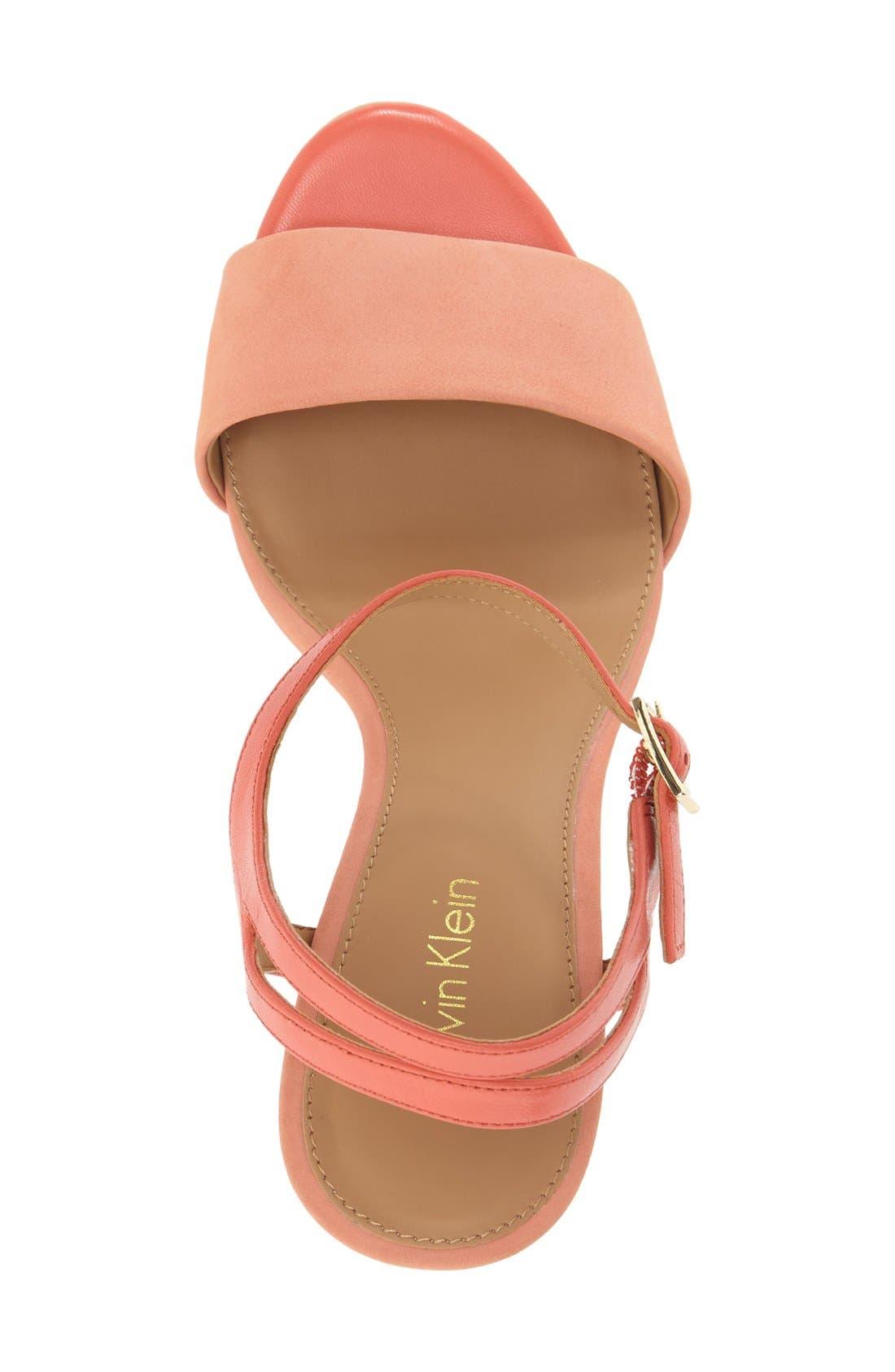 'Nadina' Ankle Strap Sandal,                             Alternate thumbnail 3, color,                             Salmon/ Deep Coral Leather