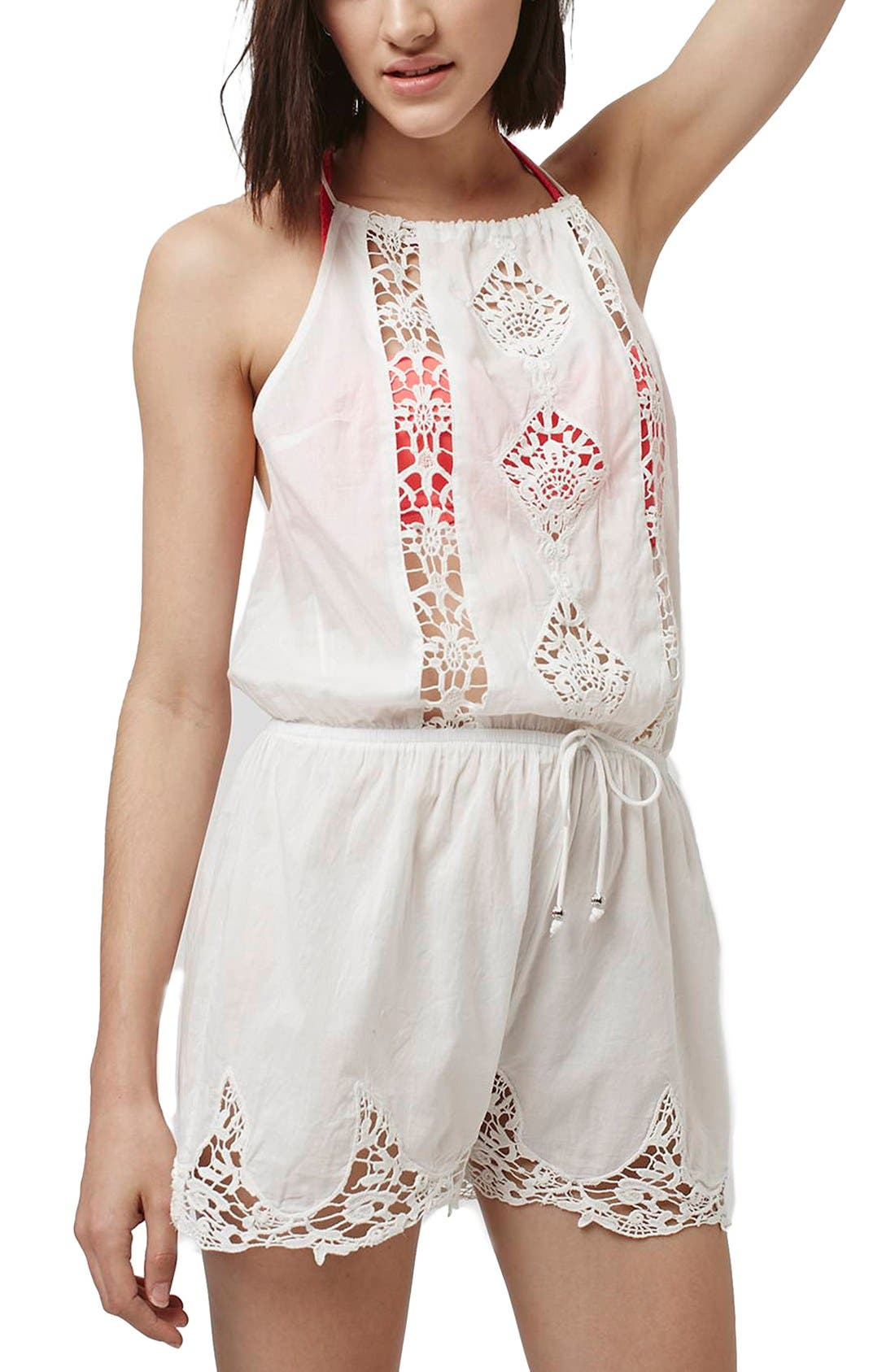 Alternate Image 1 Selected - Topshop Crochet Lace Inset Romper