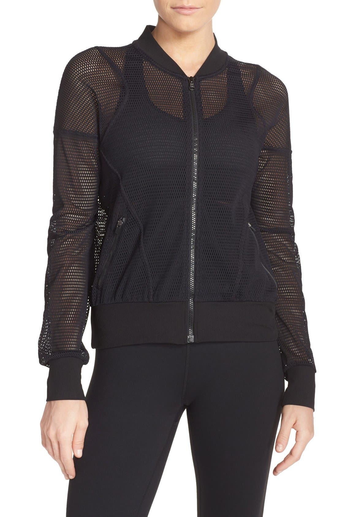 'Sculpt' Mesh Bomber Jacket,                             Main thumbnail 1, color,                             Black