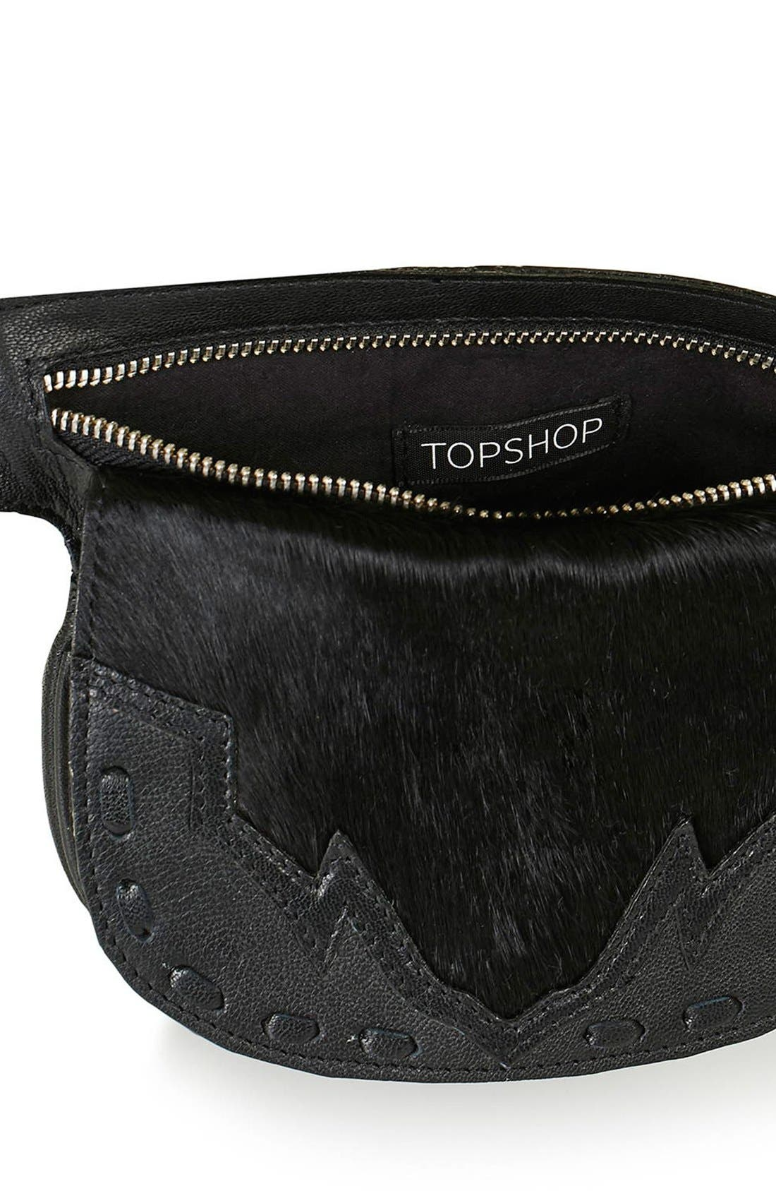 Alternate Image 4  - Topshop Western Leather & Calf Hair Belt Bag