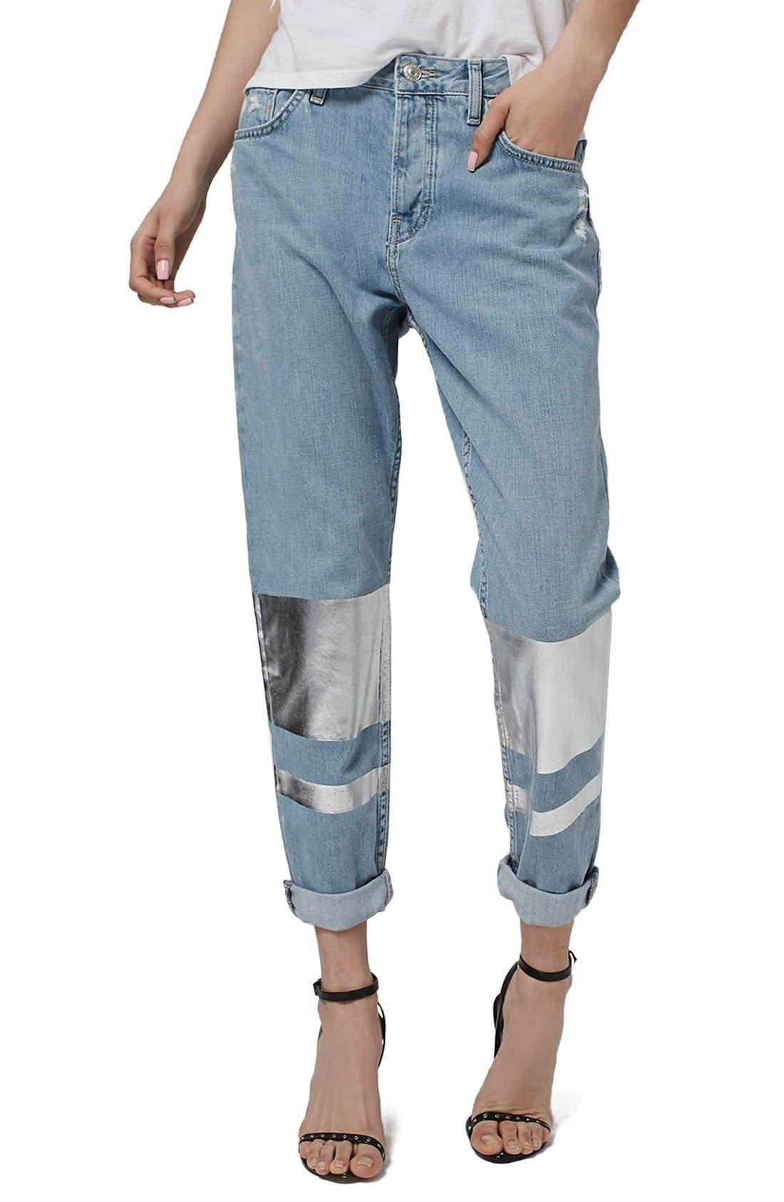 Main Image - Topshop 'Hayden' Silver Stripe Boyfriend Jeans (Petite)