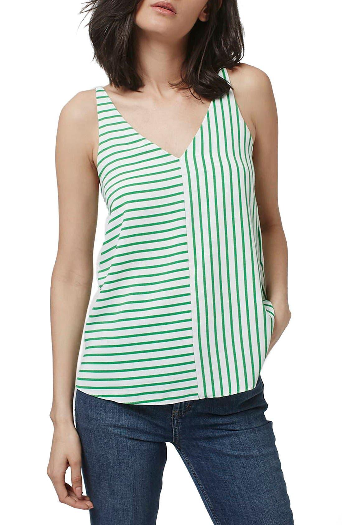 Stripe Panel V-Strap Camisole,                         Main,                         color, Green Multi