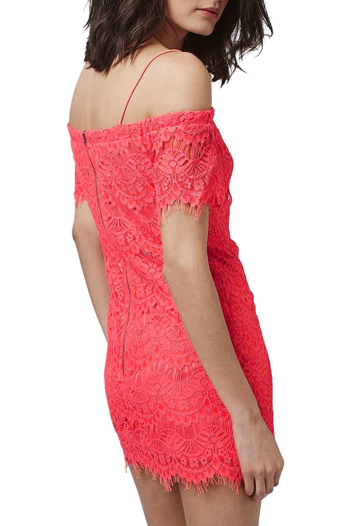Alternate Image 2  - Topshop Off the Shoulder Lace Dress