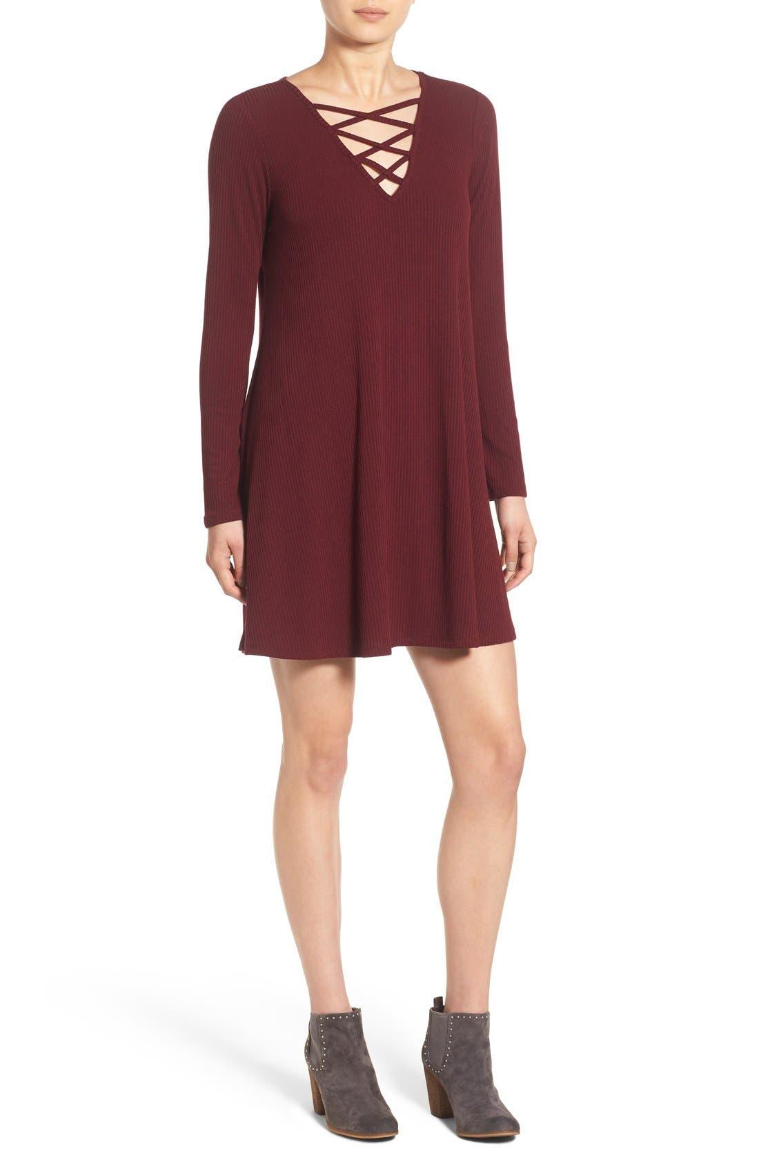 Alternate Image 1 Selected - Love, Fire Long Sleeve Rib Knit Dress
