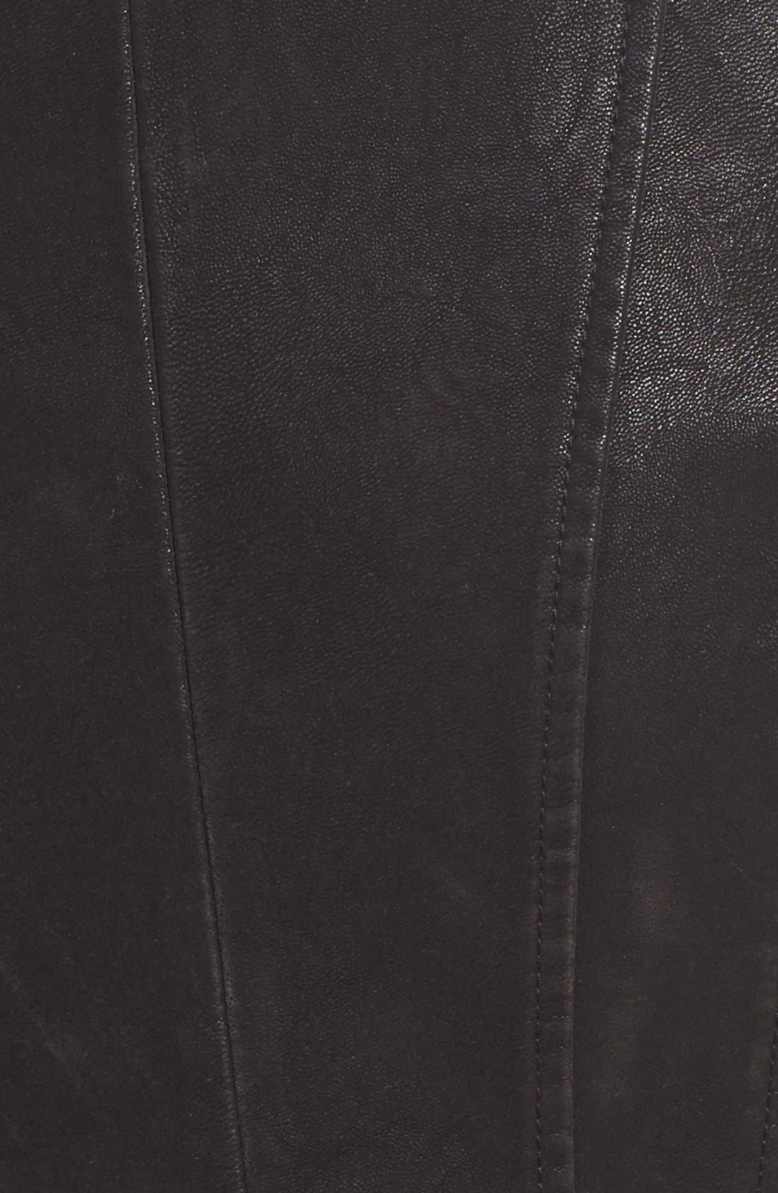 Faux Leather Moto Jacket with Faux Fur Trim,                             Alternate thumbnail 5, color,                             Black