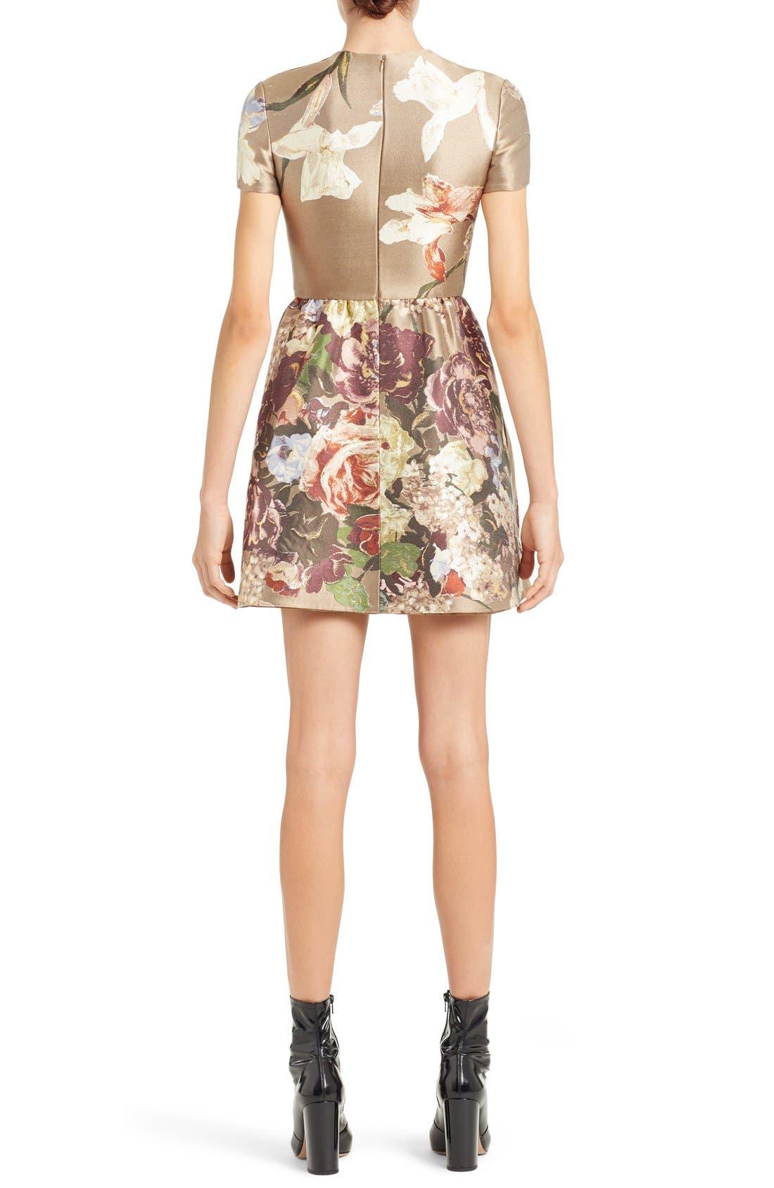 Alternate Image 2  - Valentino Kimono Floral Silk Blend Jacquard Dress
