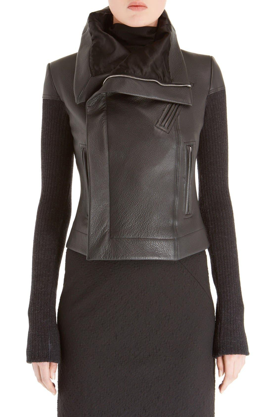 Leather Biker Jacket,                             Main thumbnail 1, color,                             Black
