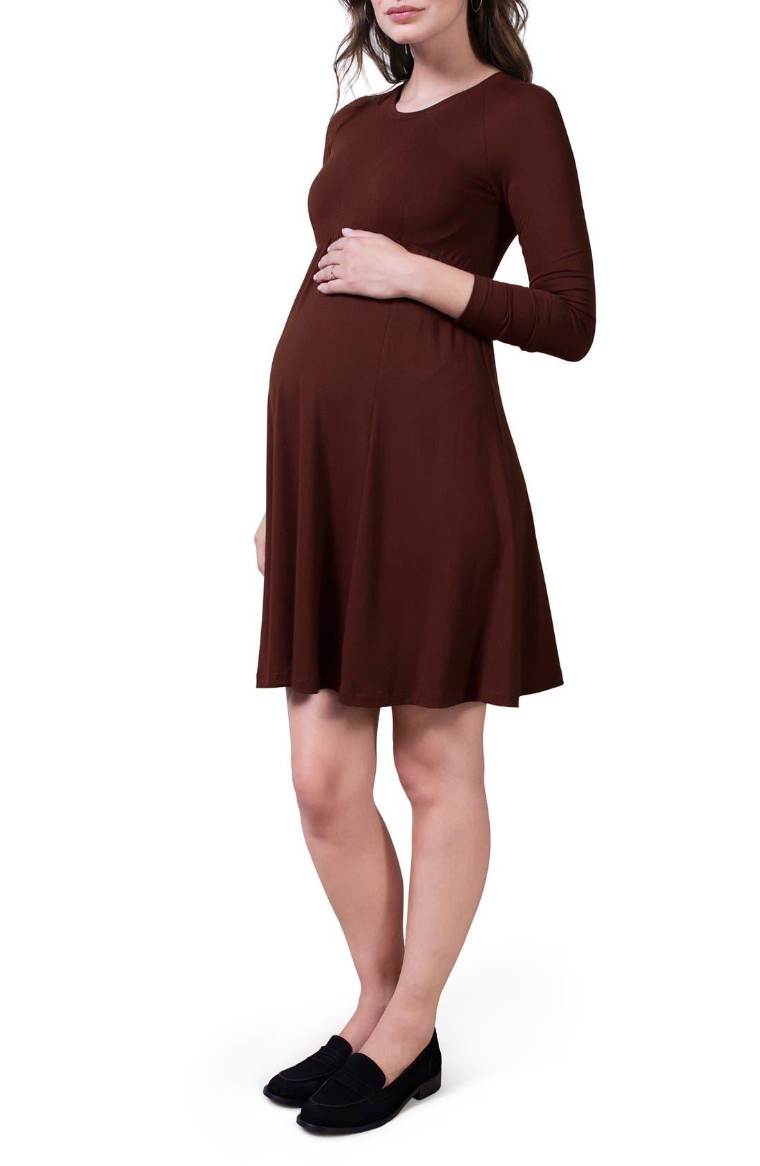 Alternate Image 3  - Isabella Oliver 'Danbury' Belted Maternity Skater Dress